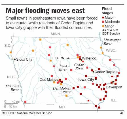 Hundreds Evacuate In Iowa City Weather NBC News - Map of iowa towns