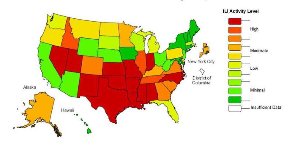 Flu Worsens Across US Hitting Younger Adults Hard - Flu In The Us Map