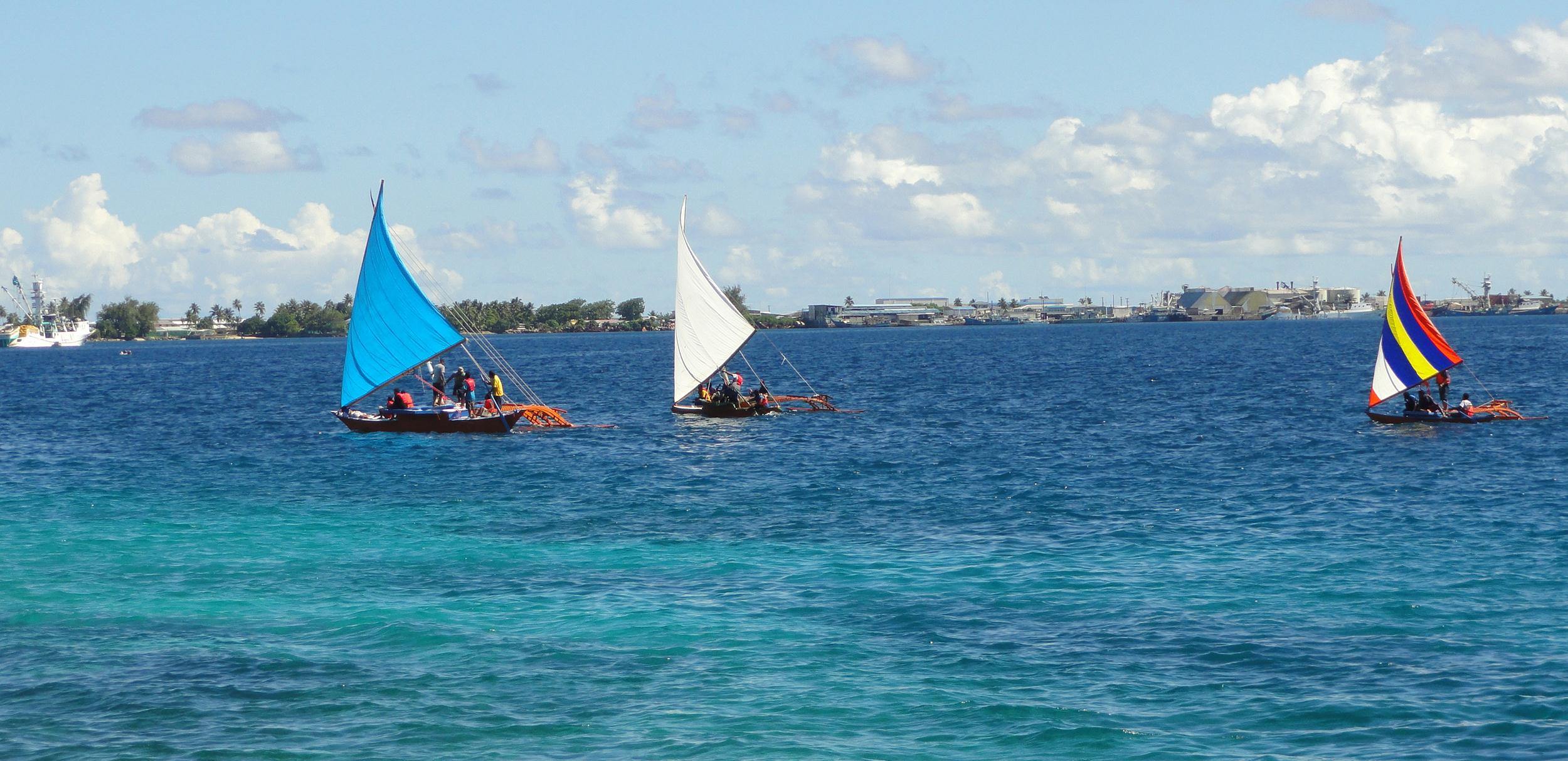 Image: Outrigger canoes in the Marshall Islands on Aug. 29, 2013.
