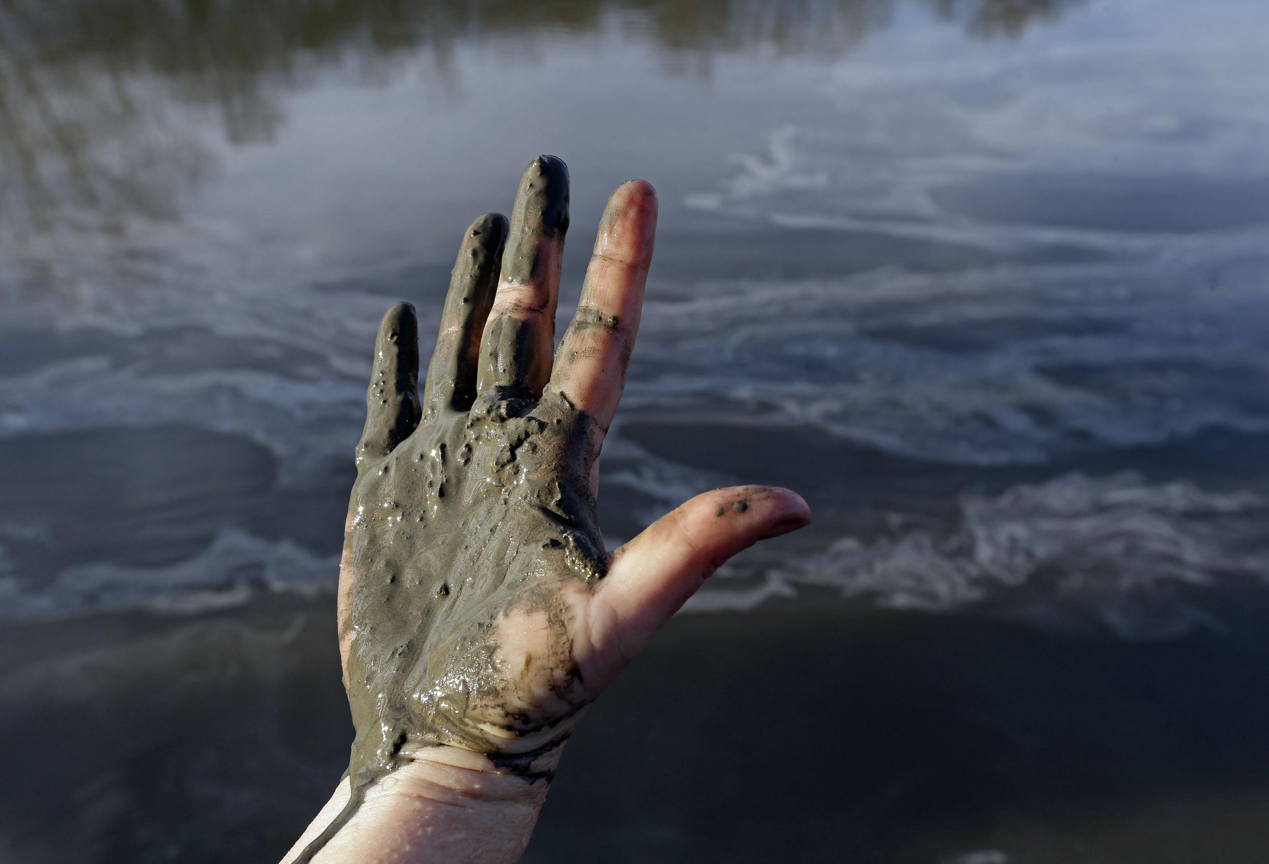 Image: Amy Adams, North Carolina campaign coordinator with Appalachian Voices, shows her hand covered with wet coal ash