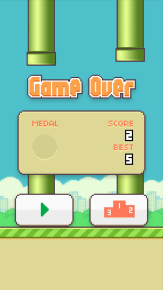 Image: Gameplay in the Flappy Birds app