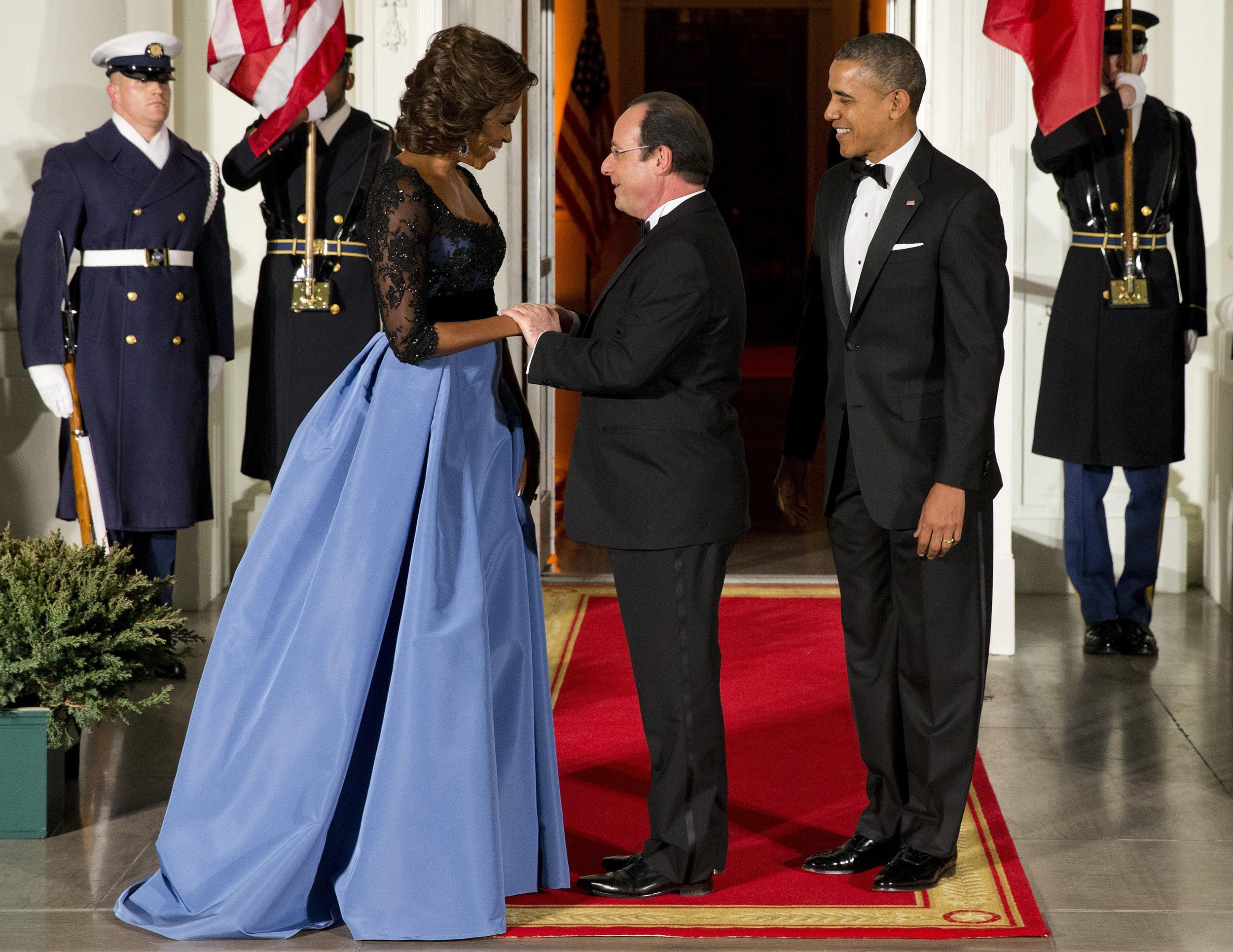 Image: Barack Obama, François Hollande, Michelle Obama