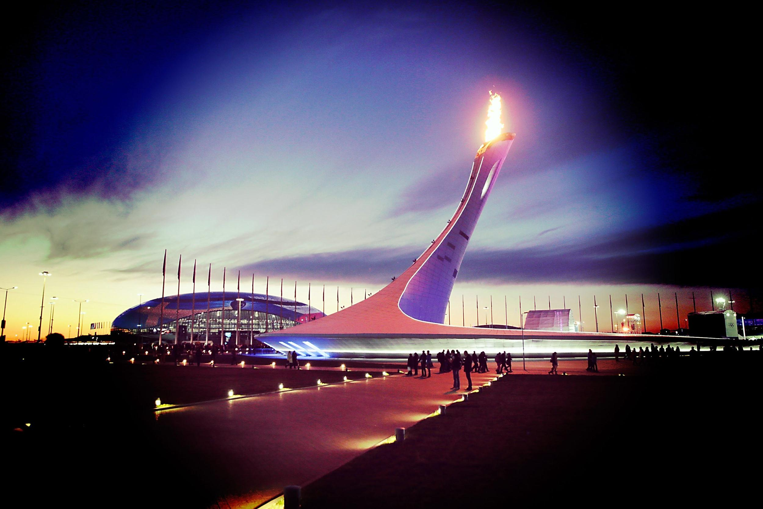 Image: A view of the Olympic Cauldron at sunset in the Olympic Park on Feb. 12 in Sochi, Russia. Editor's note: This image was processed using digital filters)