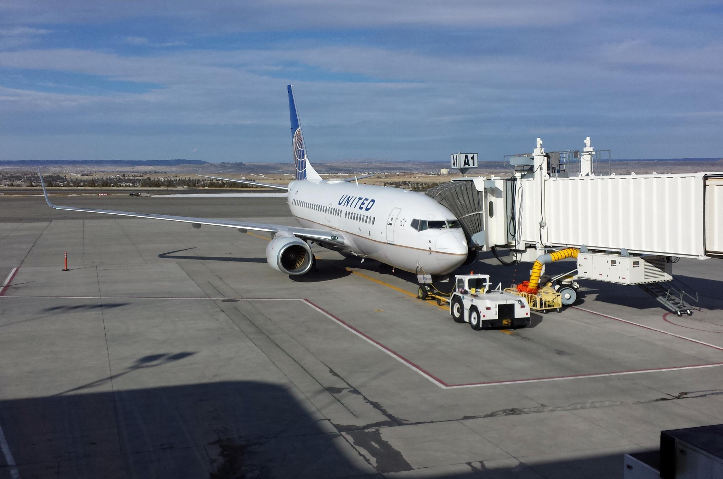 A United plane at the Billings Loan International Airport in Montana after it made an emergency landing.