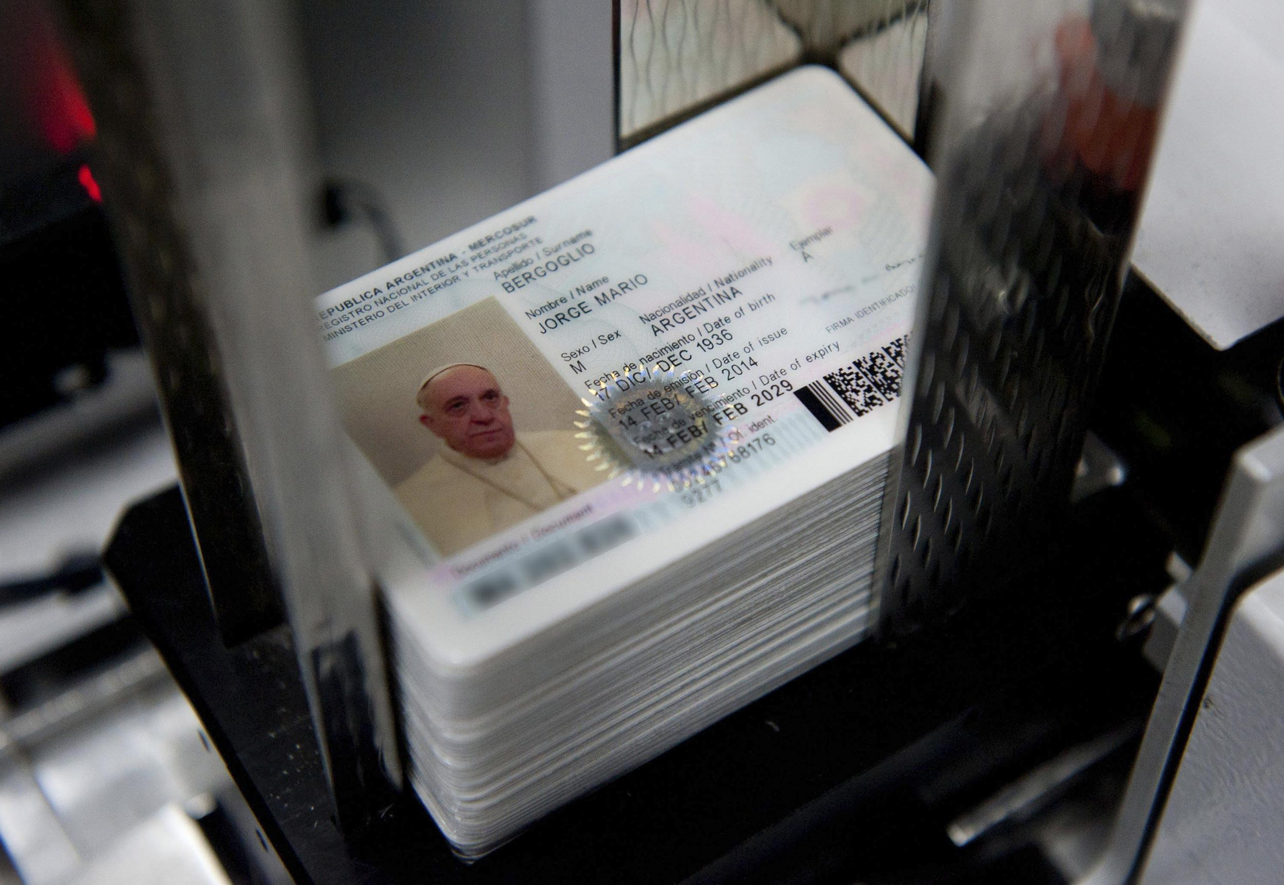 Image: Pope Francis' new national identification card