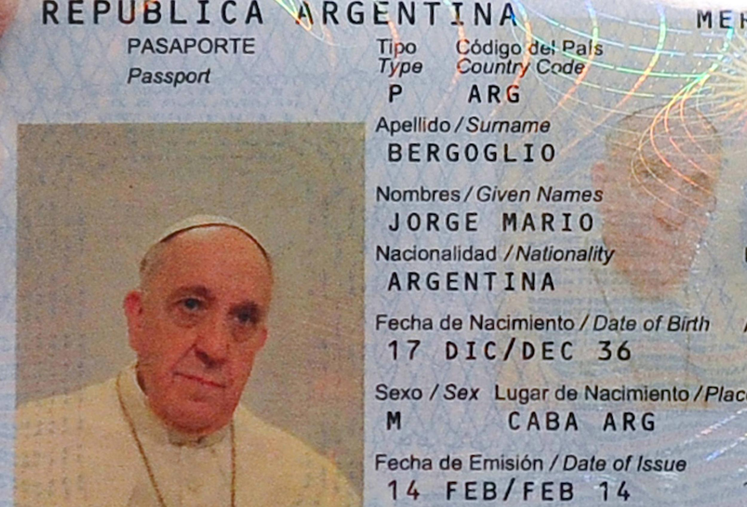 Image: The new passport of Jorge Mario Bergoglio, Pope Francis