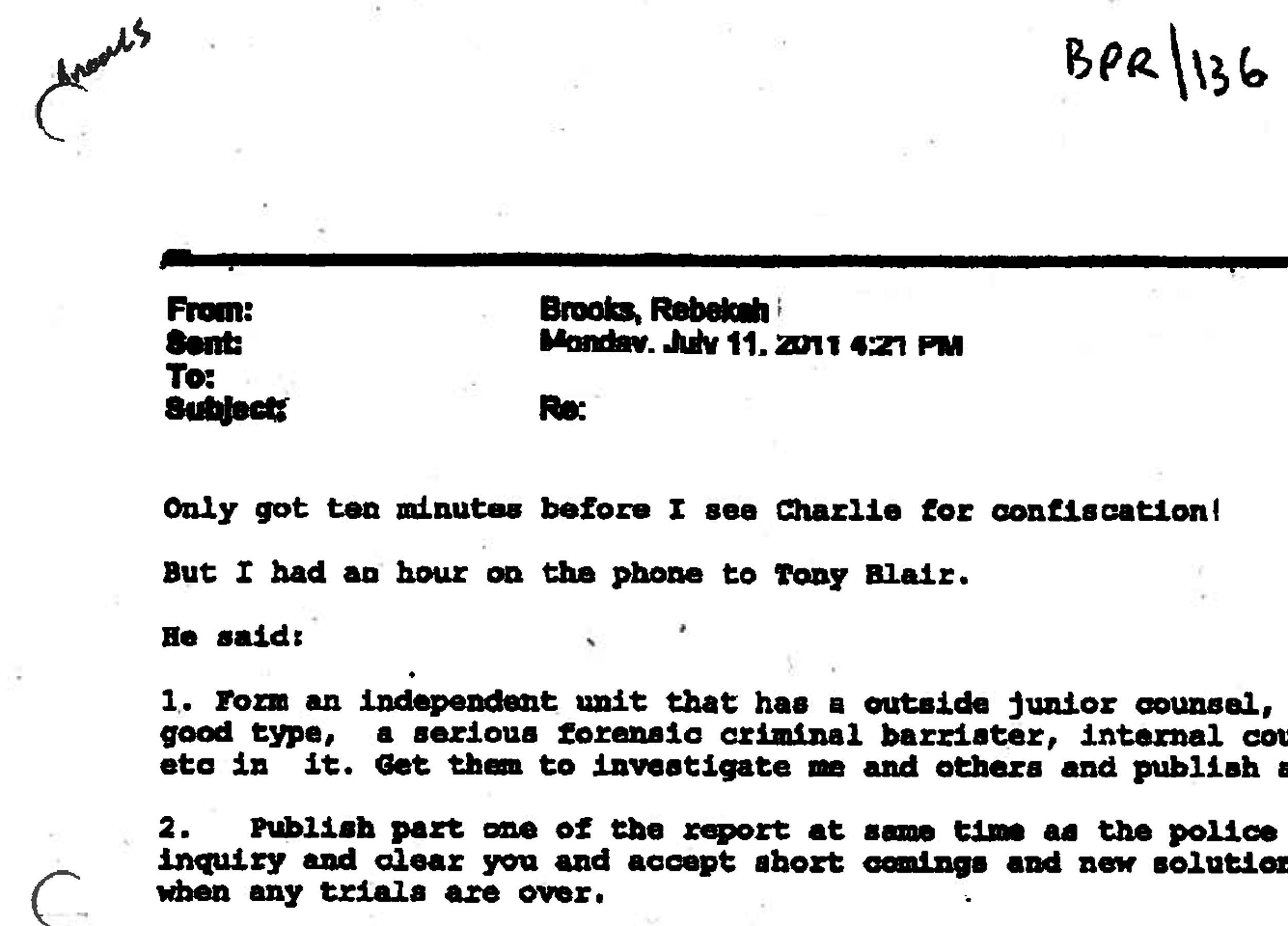 An email from Rebekah Brooks to James Murdoch that was presented to a London court on Wednesday.
