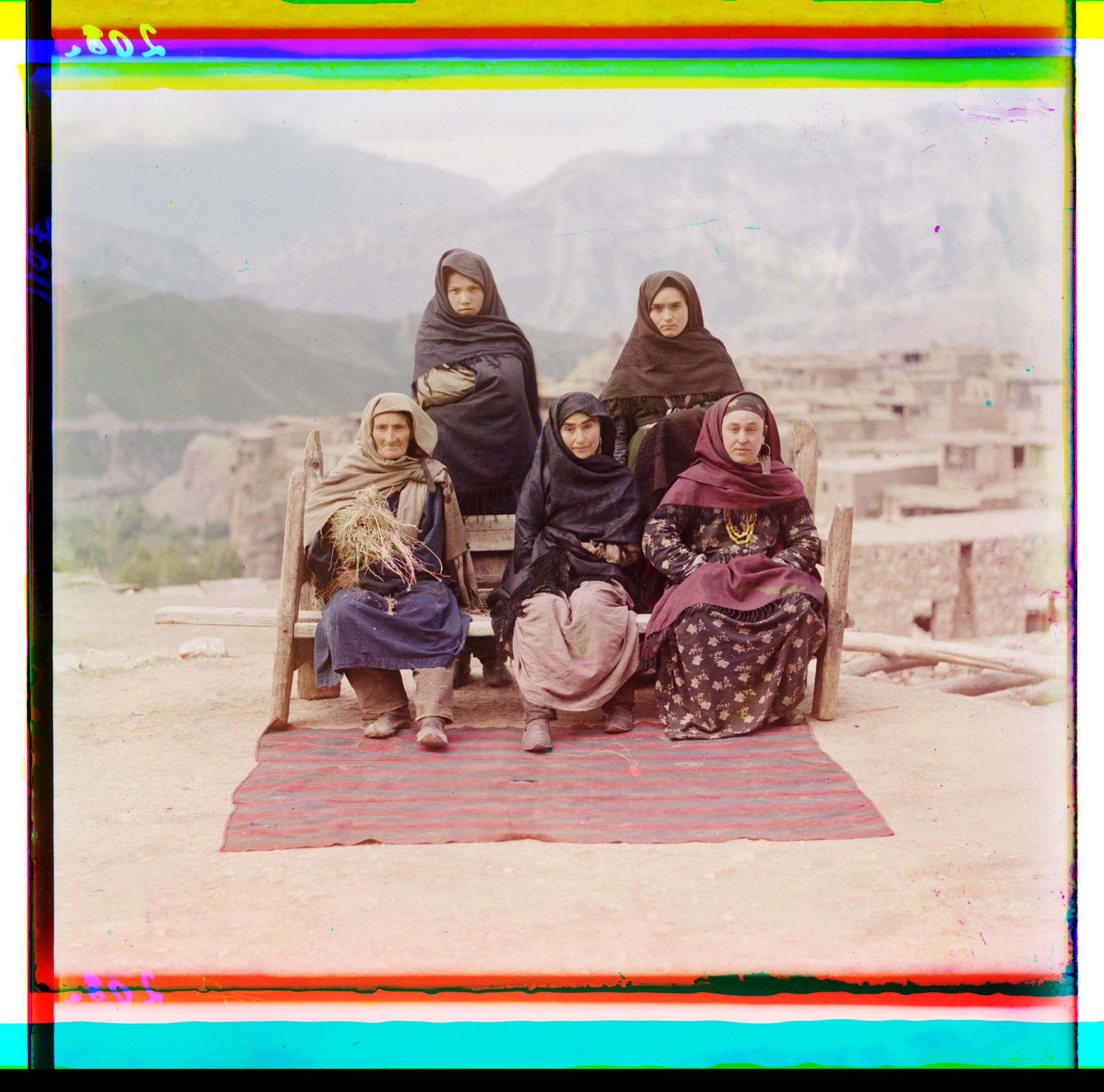 Image: A group of women pose outside in Dagestan, circa 1907-1915