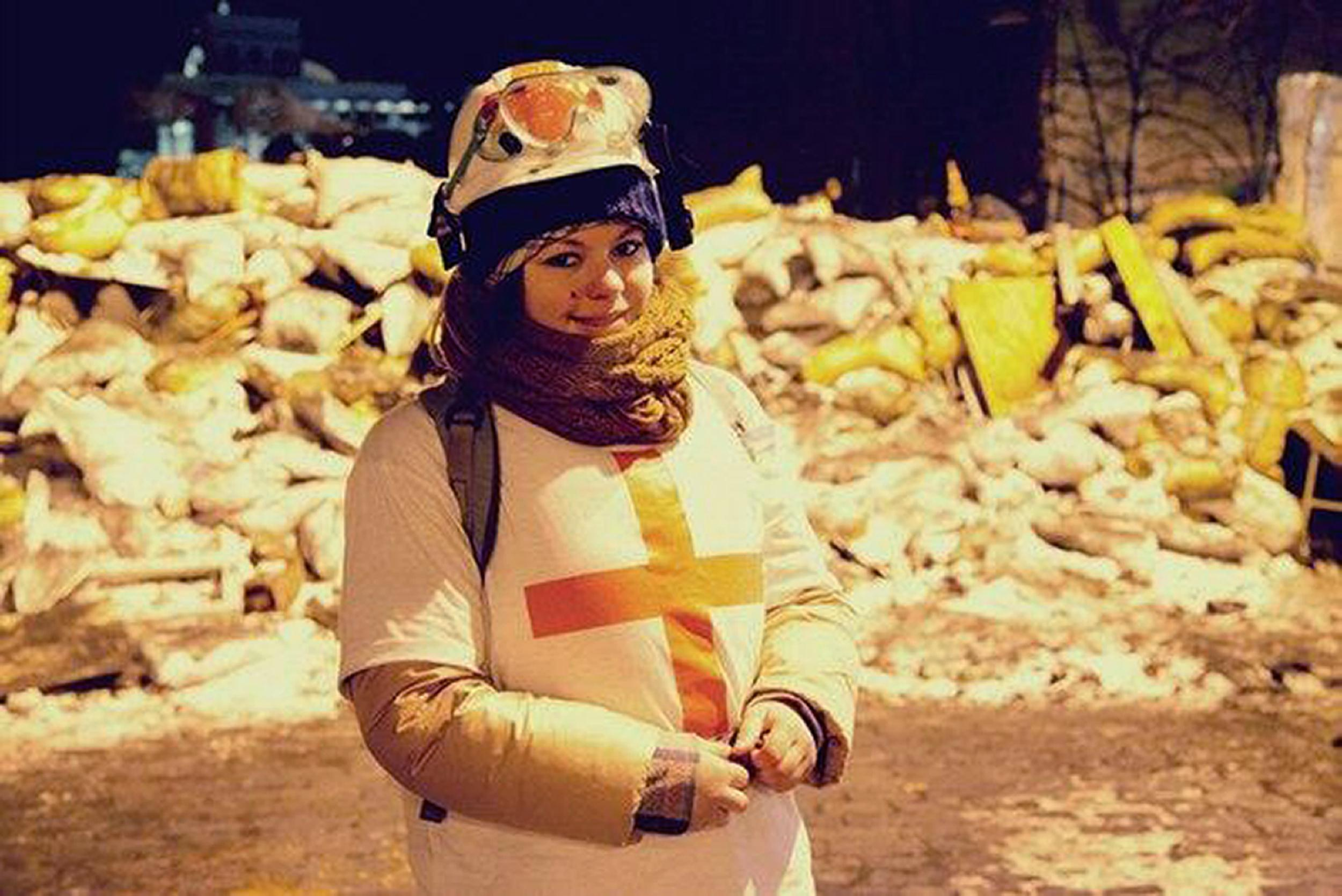 21-year-old Olesya Zhukovska was struck by a bullet while working as a volunteer medic amid fierce clashes between police and anti-government protesters in Kiev, Ukraine.