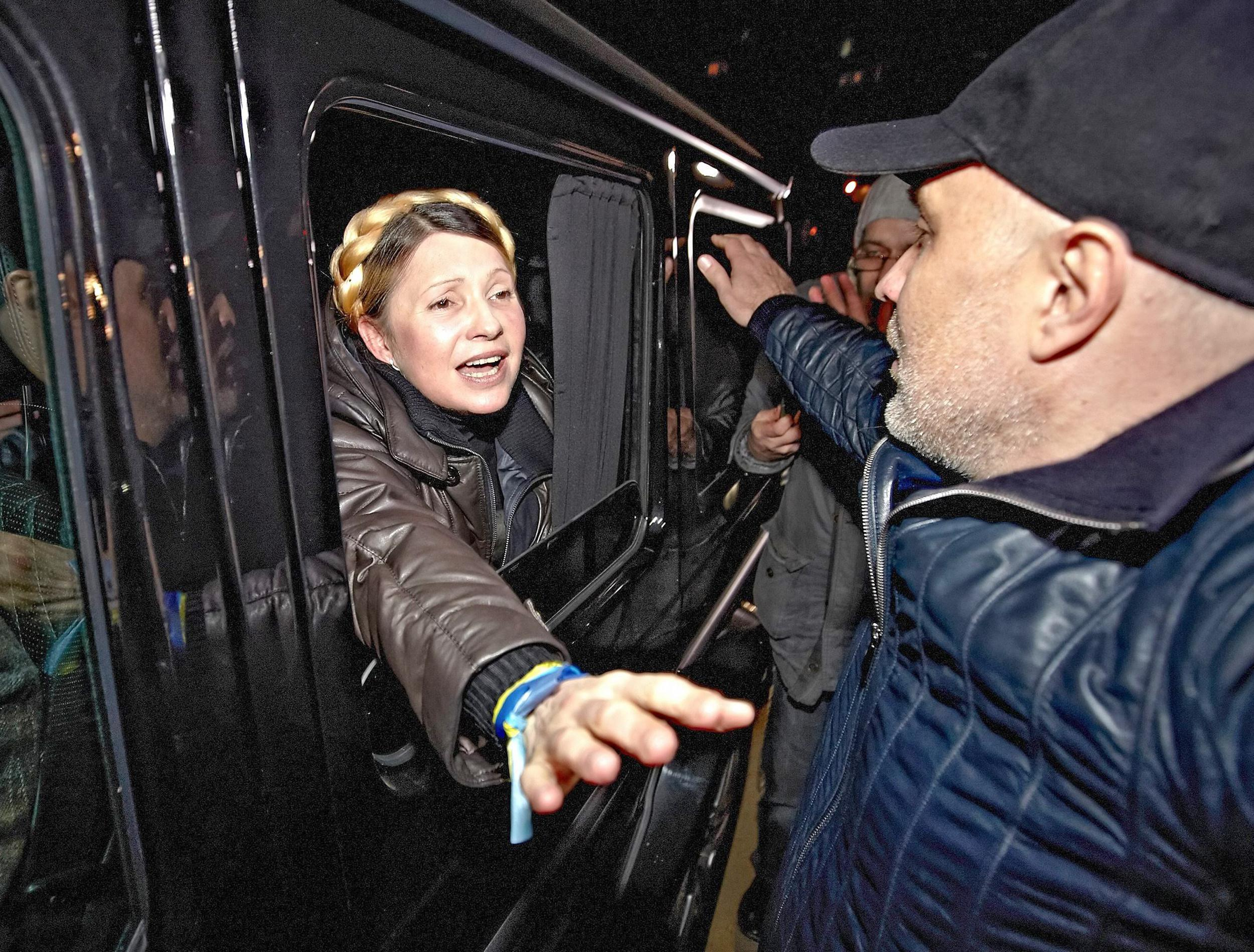 Image: Yulia Tymoshenko freed, leaving hospital