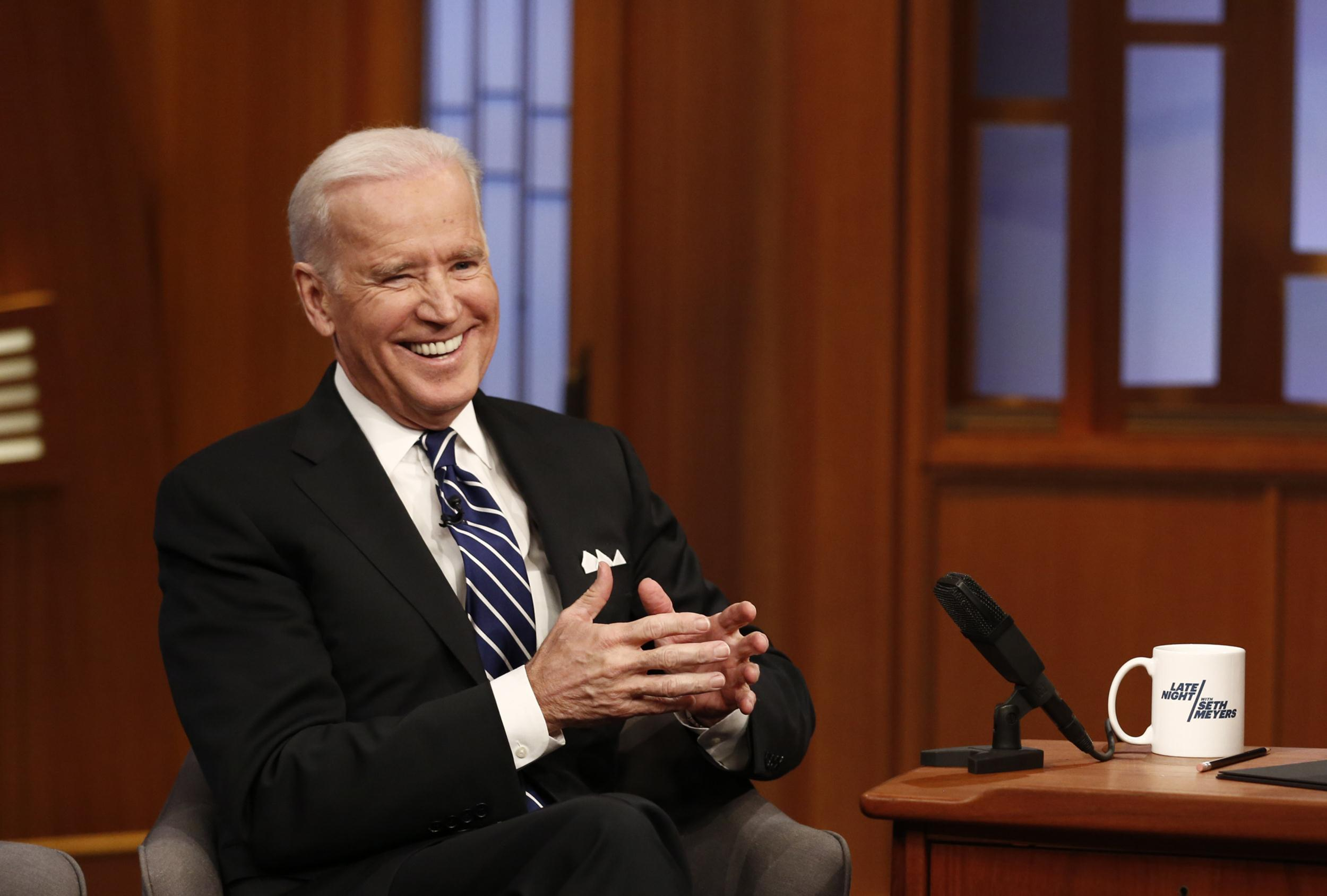 Image: Vice President Joe Biden during an interview with host Seth Meyers on Late Night