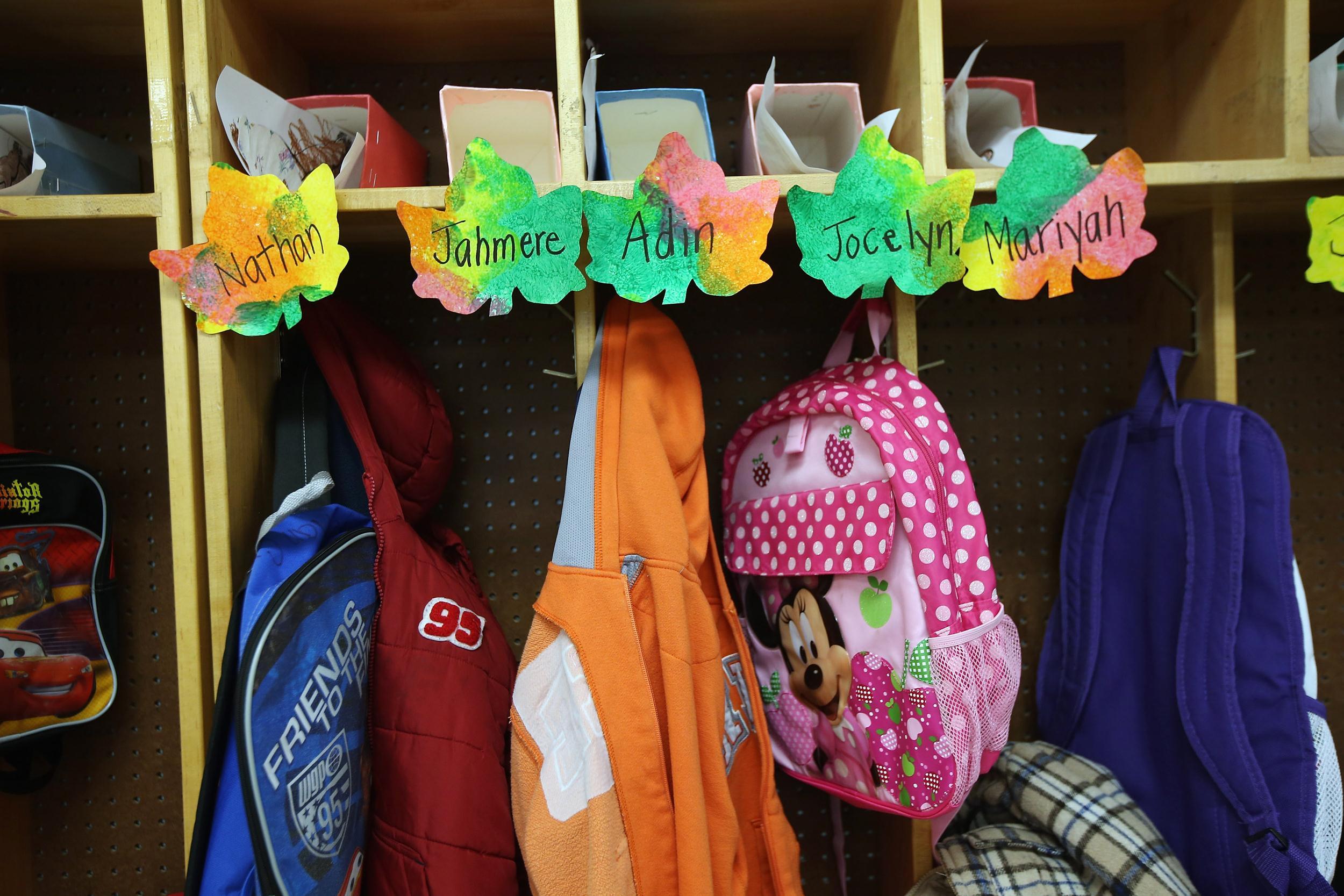 Image: Cubbies line a classroom