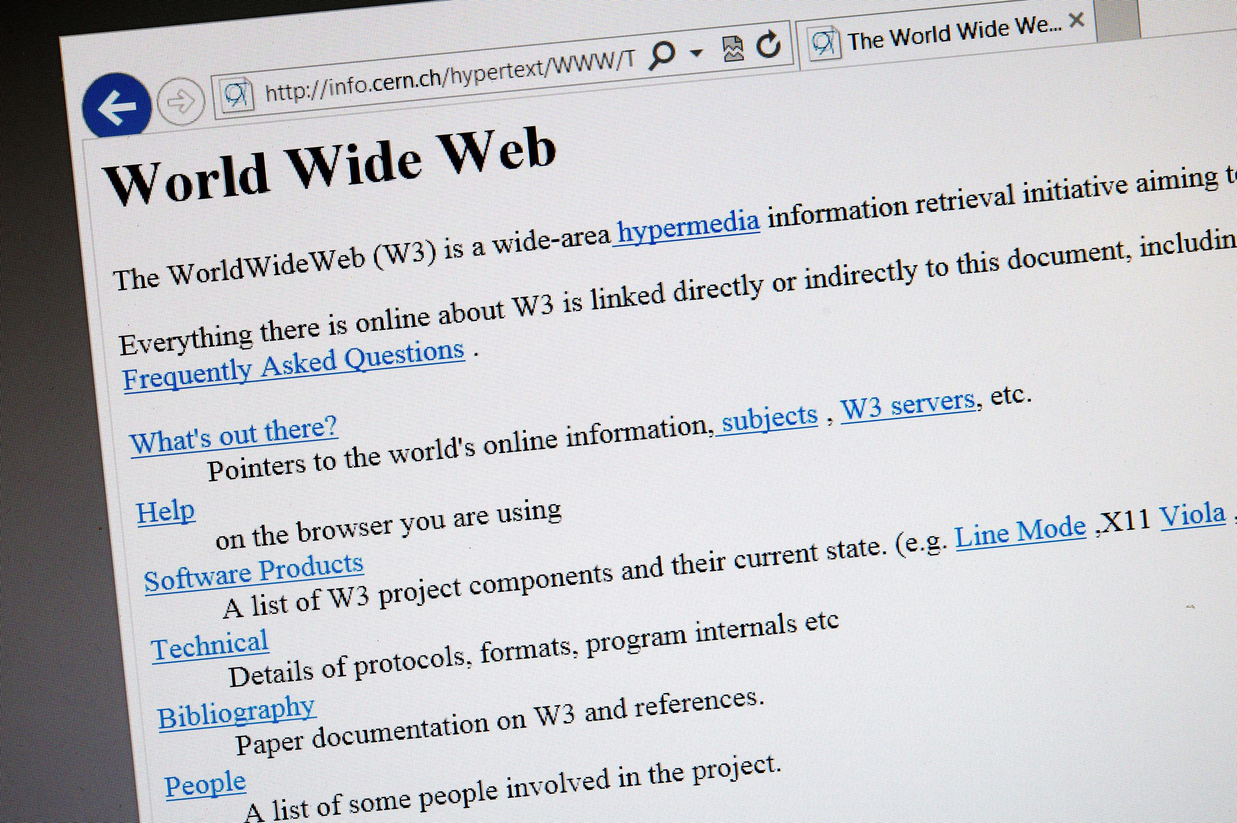 Image: A 1992 copy of the world's first web page