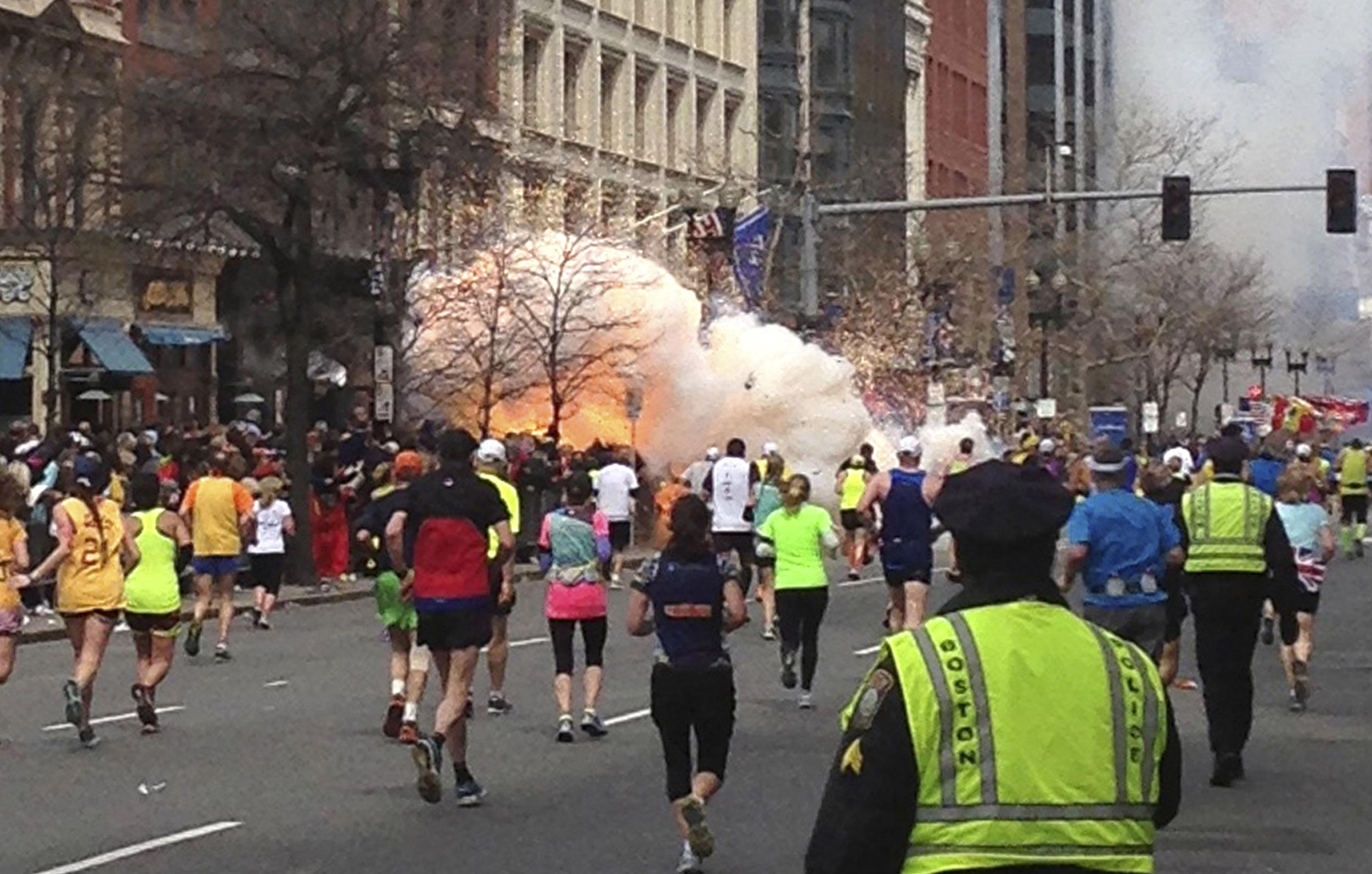 Image: Blast near the finish line of the Boston Marathon