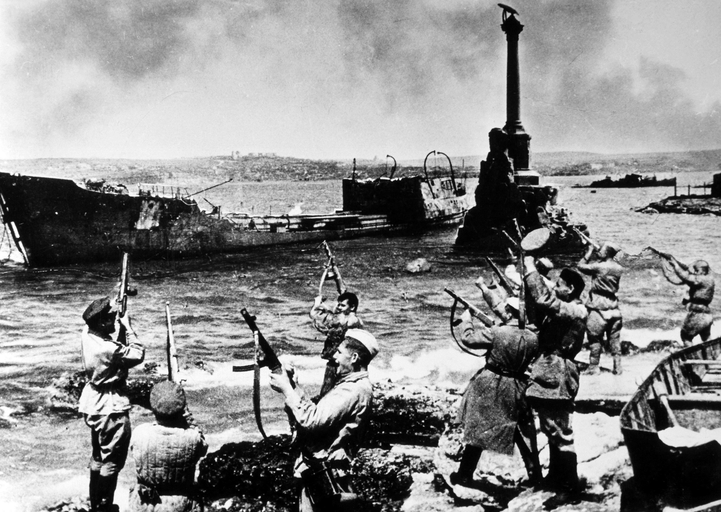 Soviet soldiers in Sevastopol celebrate their victory