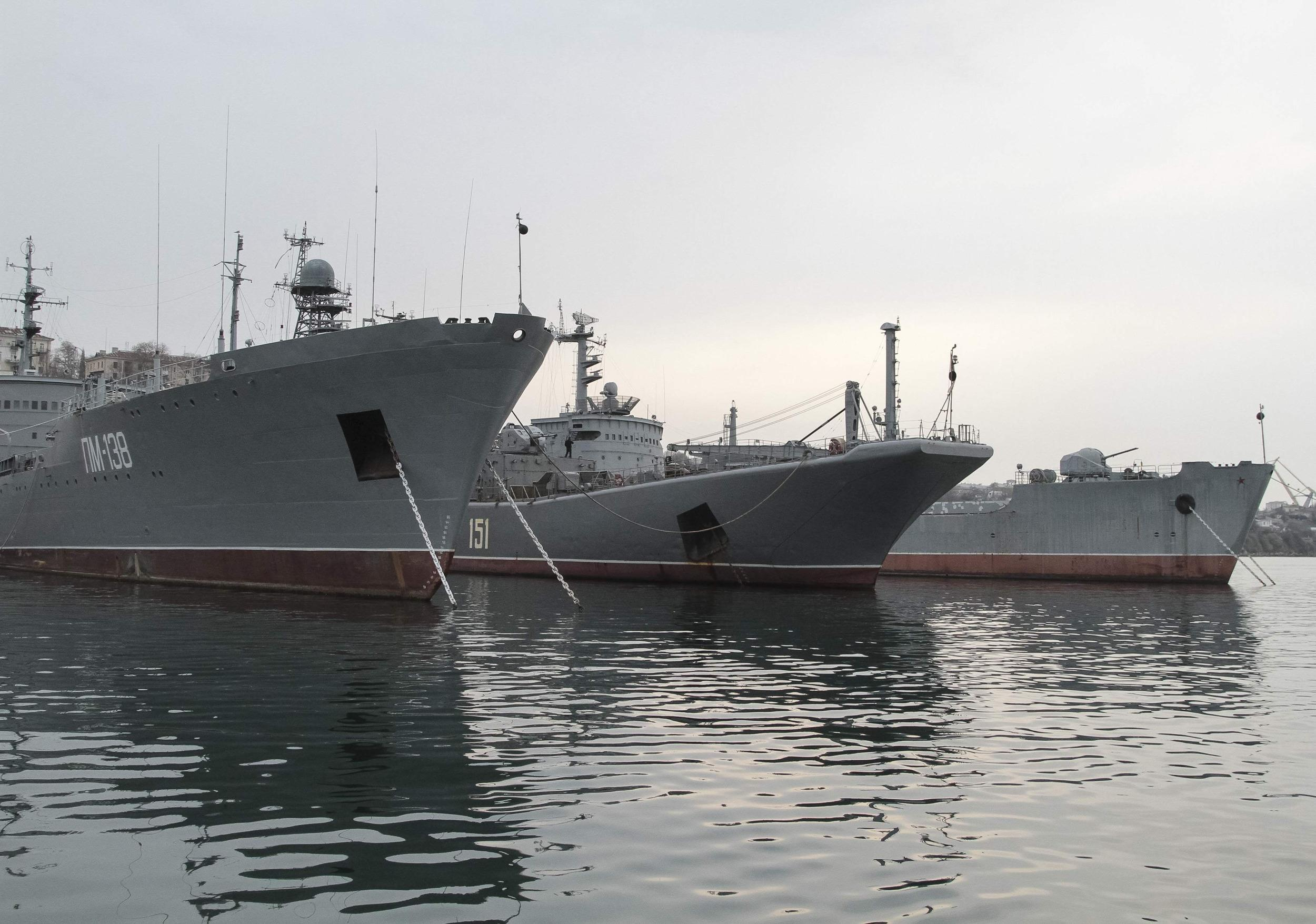 Image: Russian navy ship moored in Sevastopol, Ukaine