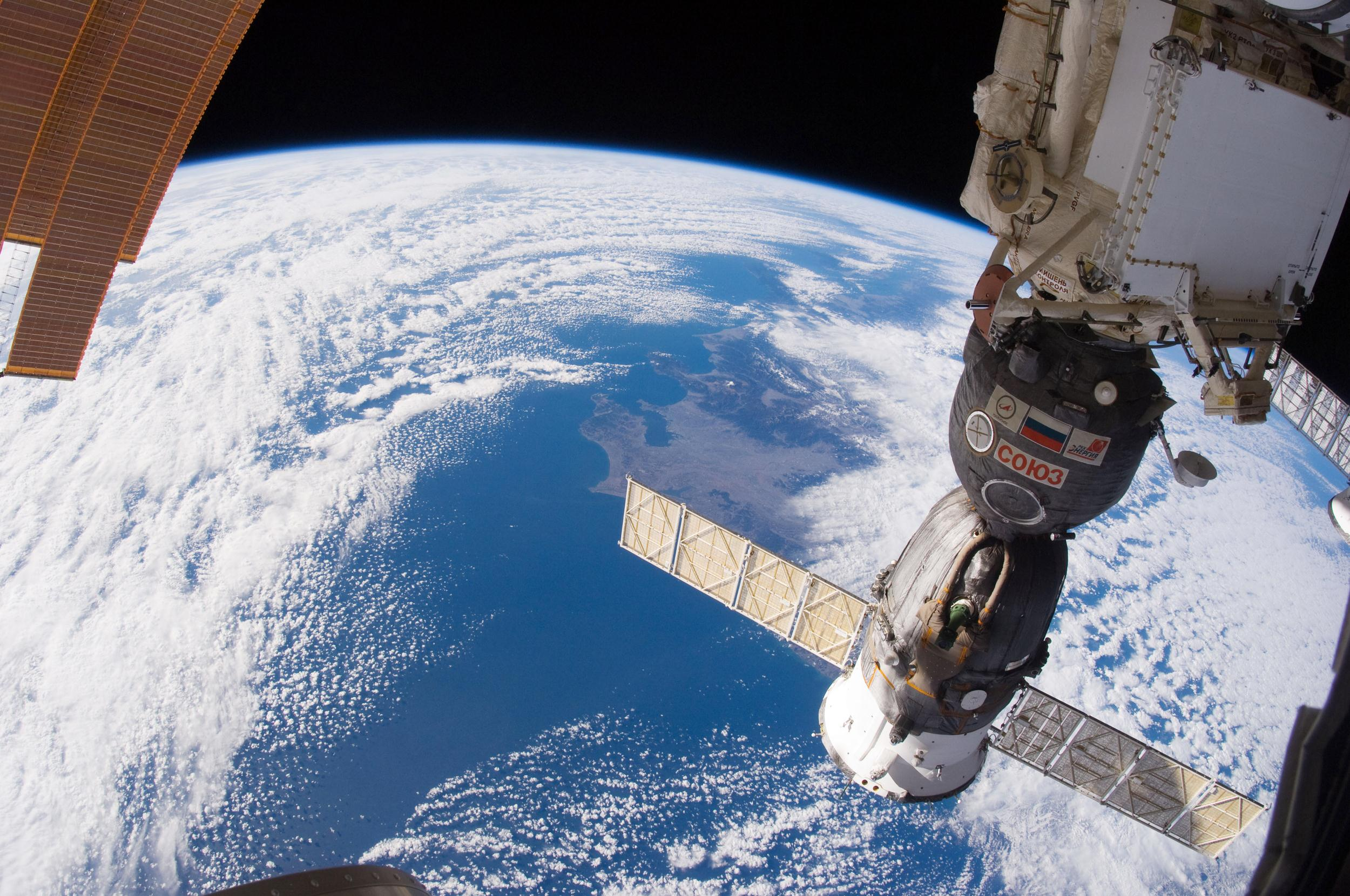 Image: A Russian Soyuz spacecraft, docked to the International Space Station