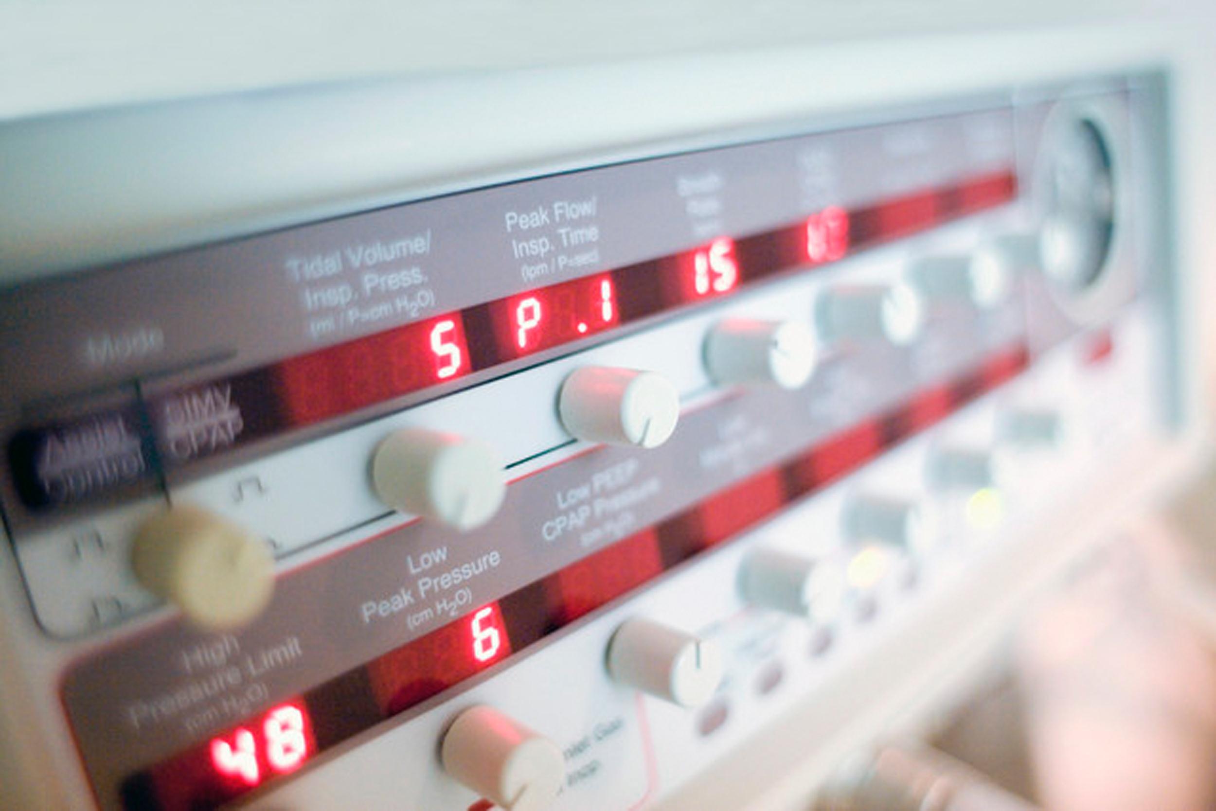 Image: Ventilator machine controls