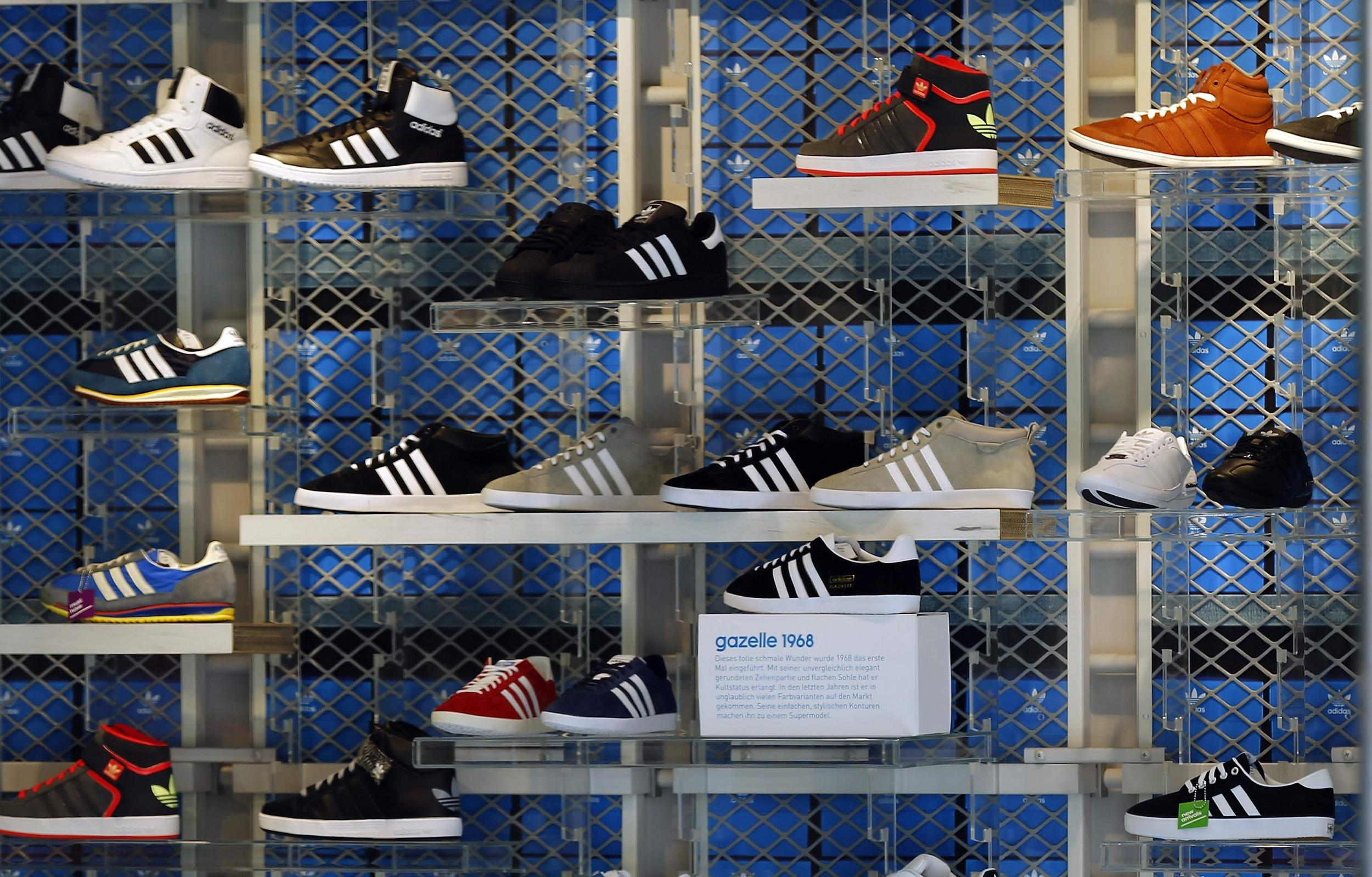 Image: Shoes from Adidas are displayed in a store in Munich