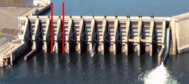 IMAGE: Photo showing Wanapum Dam spillway pier with crack