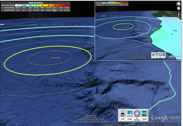 Image: A National Weather Service graphic showing the epicenter of the quake off the California coast.