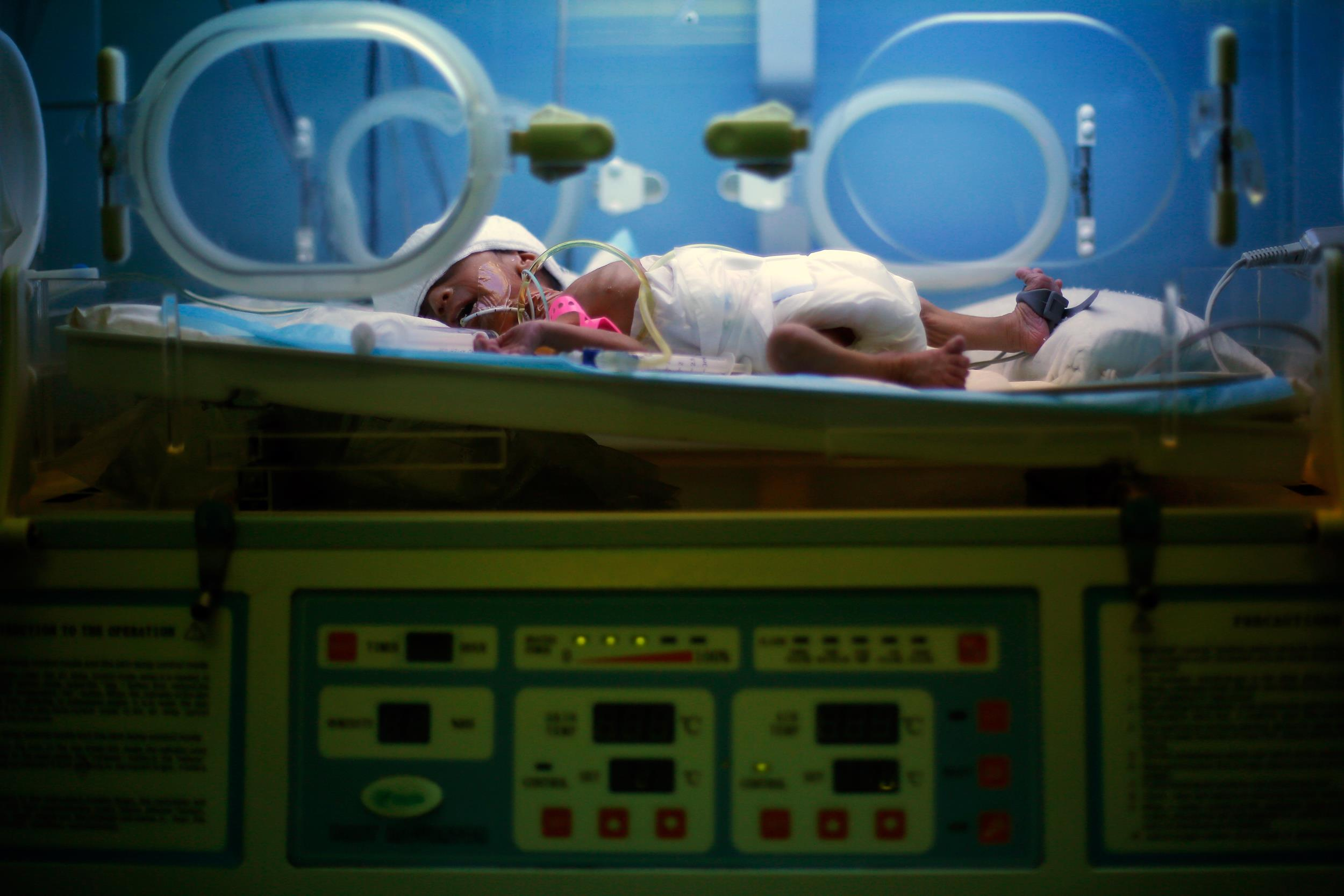 Image: A premature Syrian baby sleeps in an incubator at Chtaura's hospital in Chtaura, Lebanon