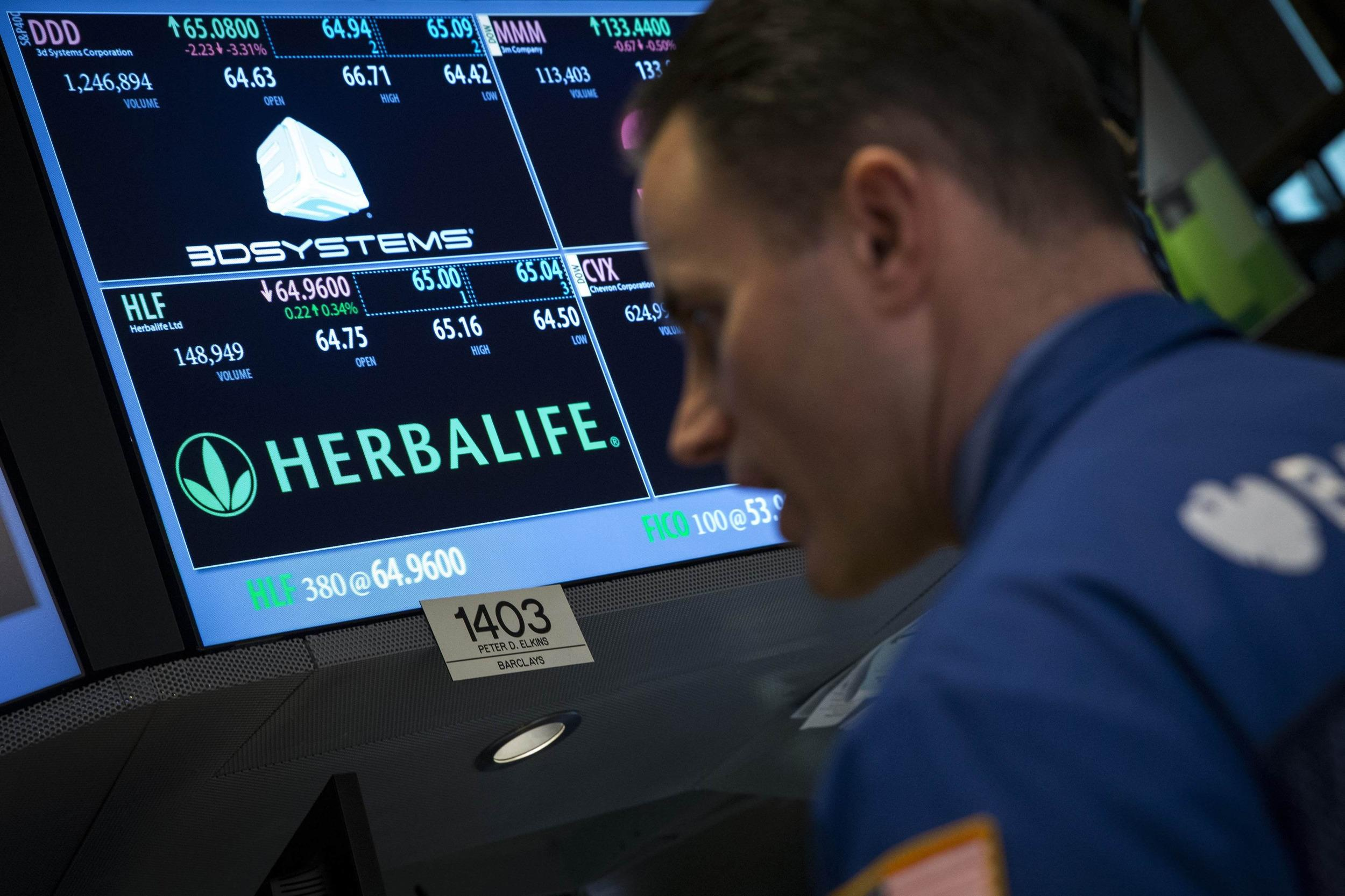 Image: Herbalife ticker is seen at the post where its stock is traded on the floor of the New York Stock Exchange