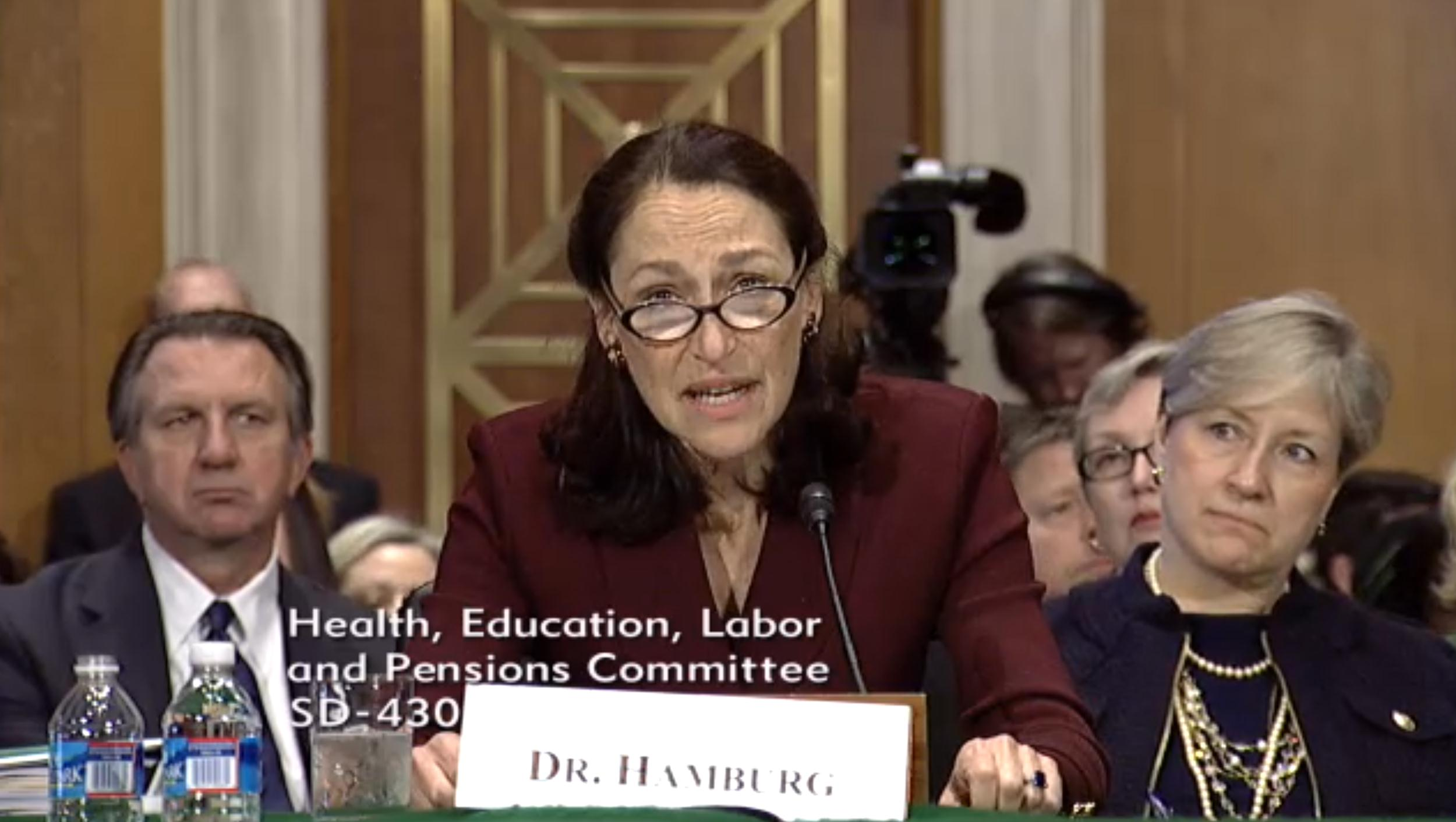Dr. Margaret Hamburg appearing before a Senate committee on Thursday.