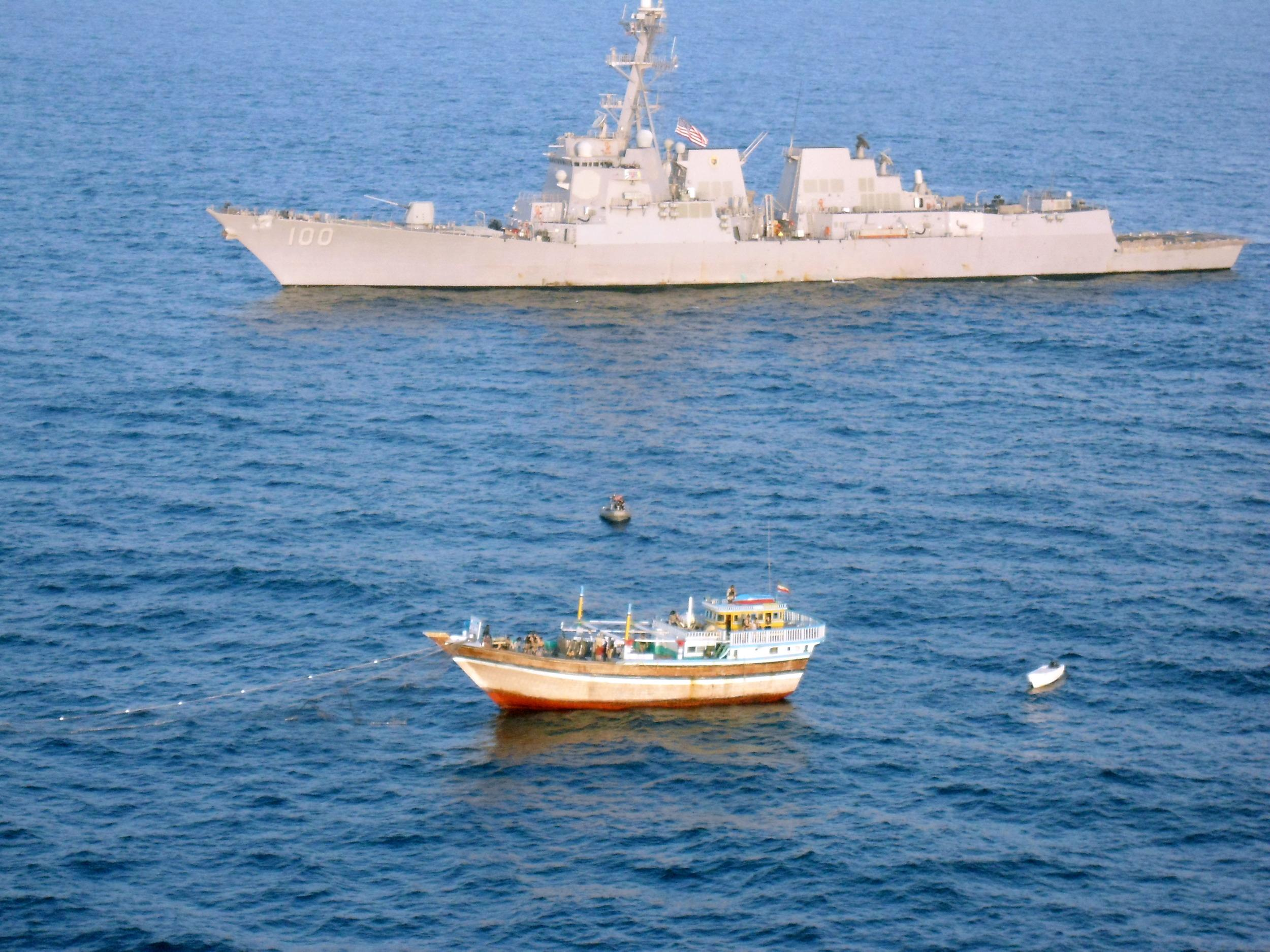 Image: The guided-missile destroyer USS Kidd redeployed to the Strait of Malacca in the search for the missing airliner