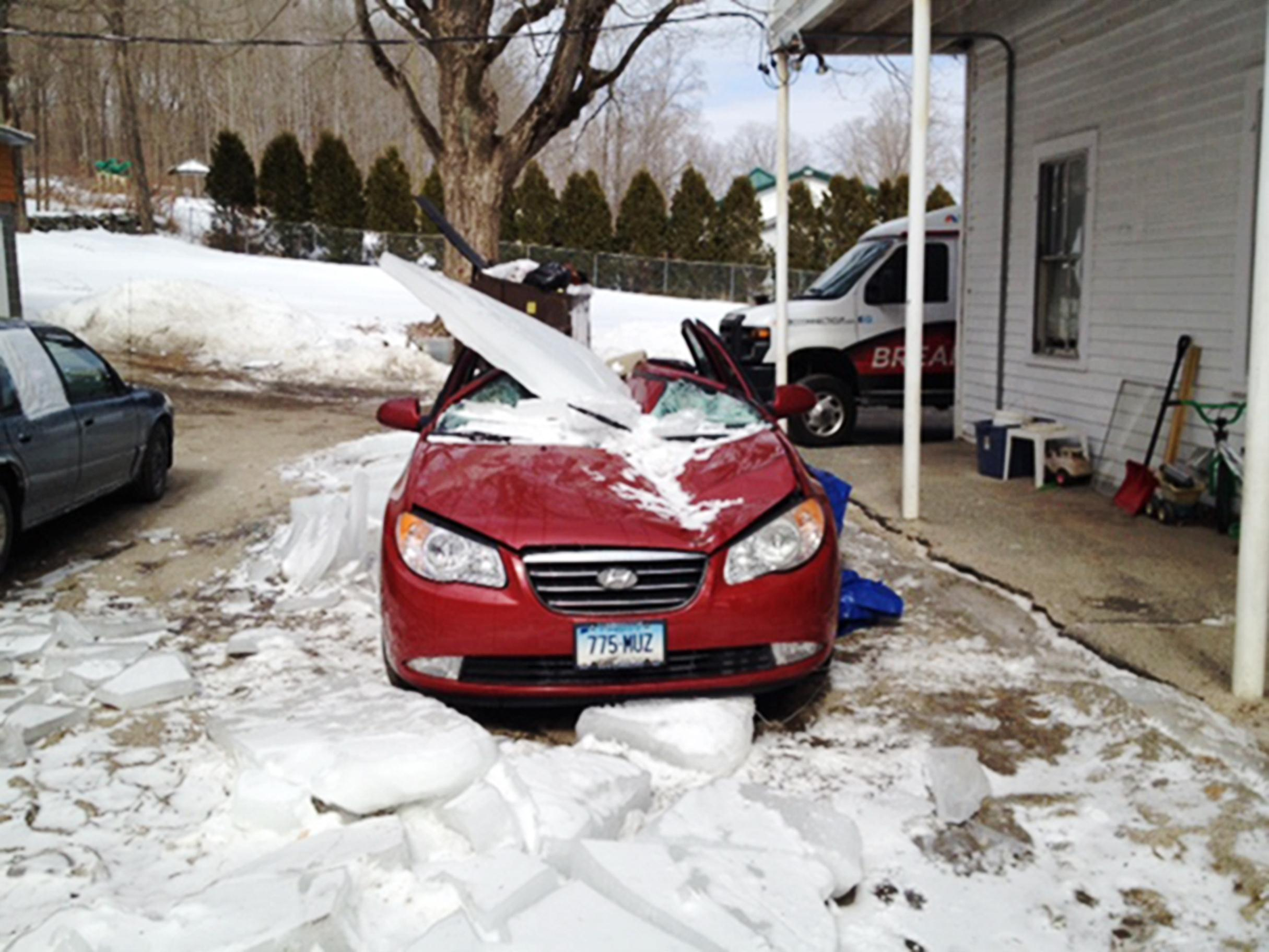 Image: A sheet of ice smashed a car in Winsted, Conn.