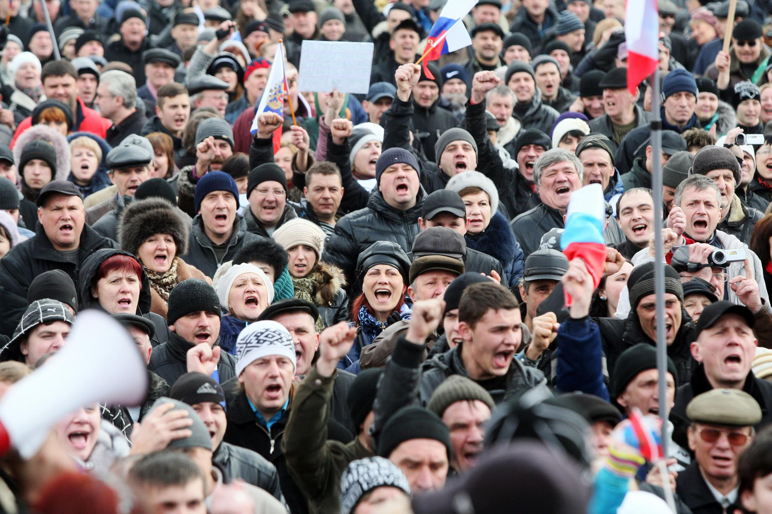 Image: Pro-Russian activists shout slogans during their rally in the eastern Ukrainian city of Donetsk