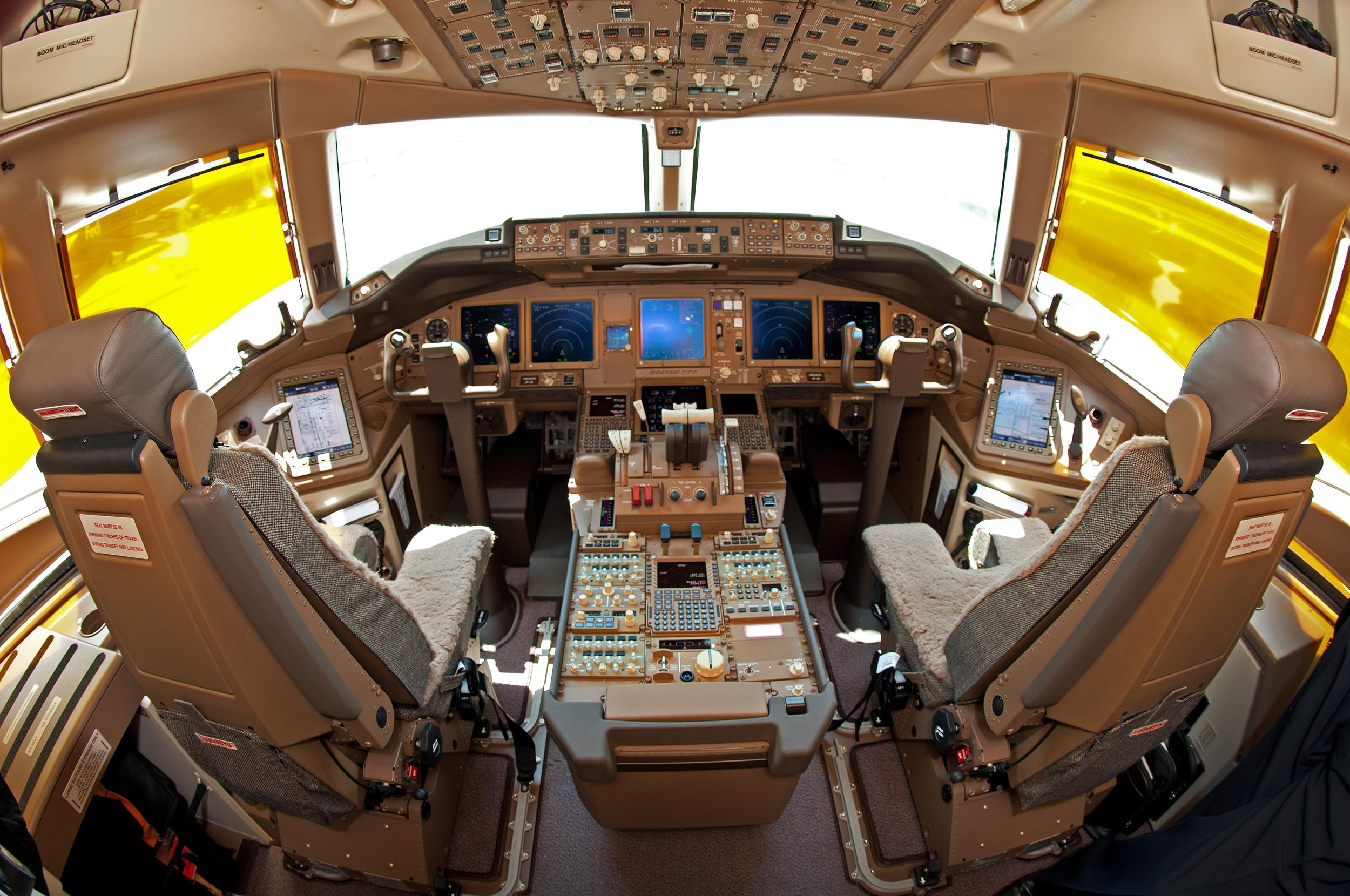 The cockpit of a Boeing 777F.