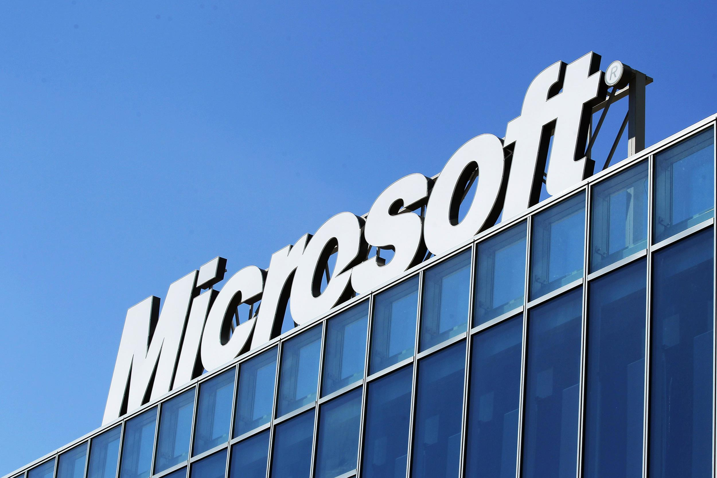 Image: The Microsoft logo is seen at their offices in Bucharest in this file photo