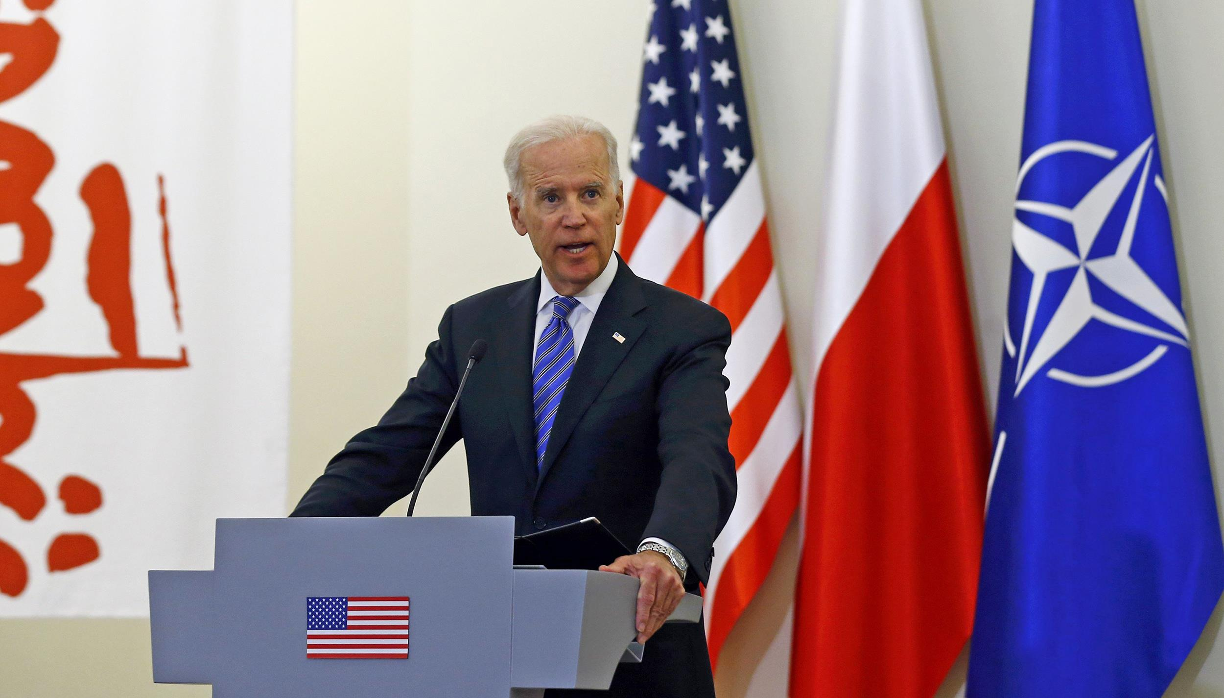 Image: U.S. Vice President Biden addresses to media after meeting Polish President Komorowski in Warsaw