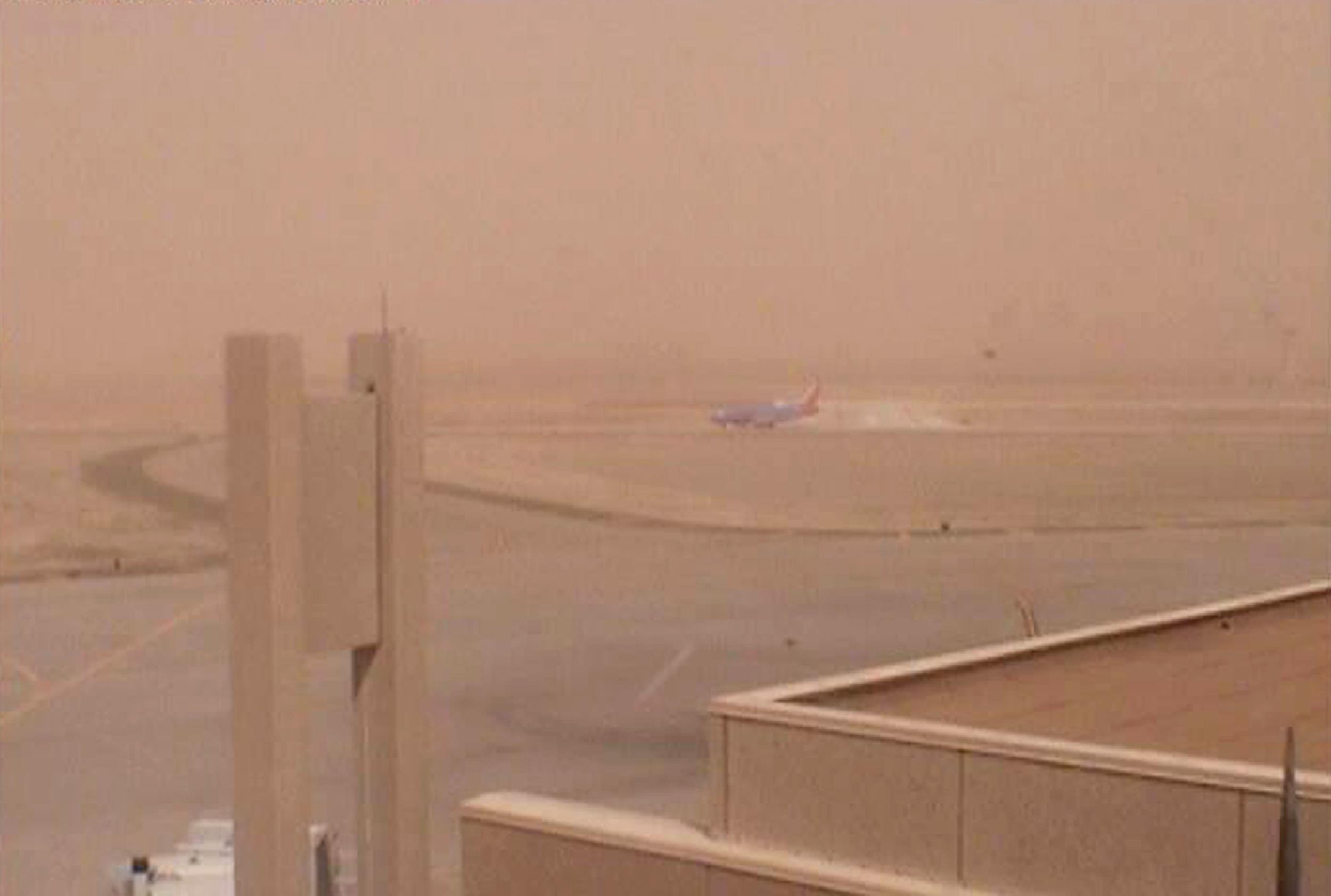 Dust storm at the airport in Lubbock, West Texas, on Tuesday.