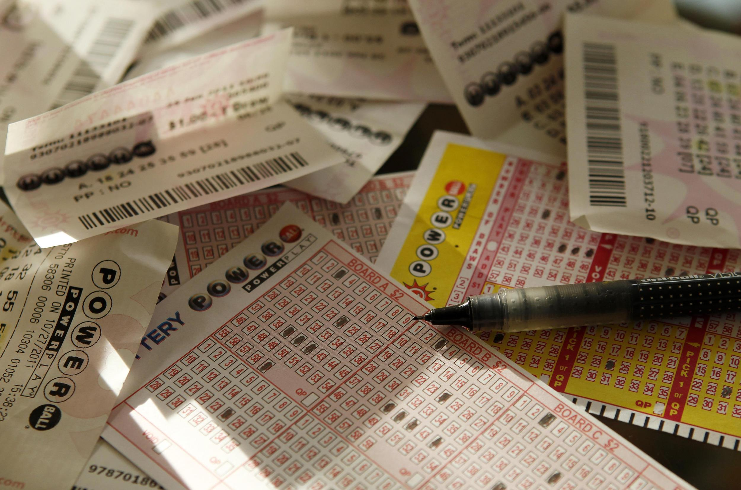 Image: Powerball play slips and losing tickets
