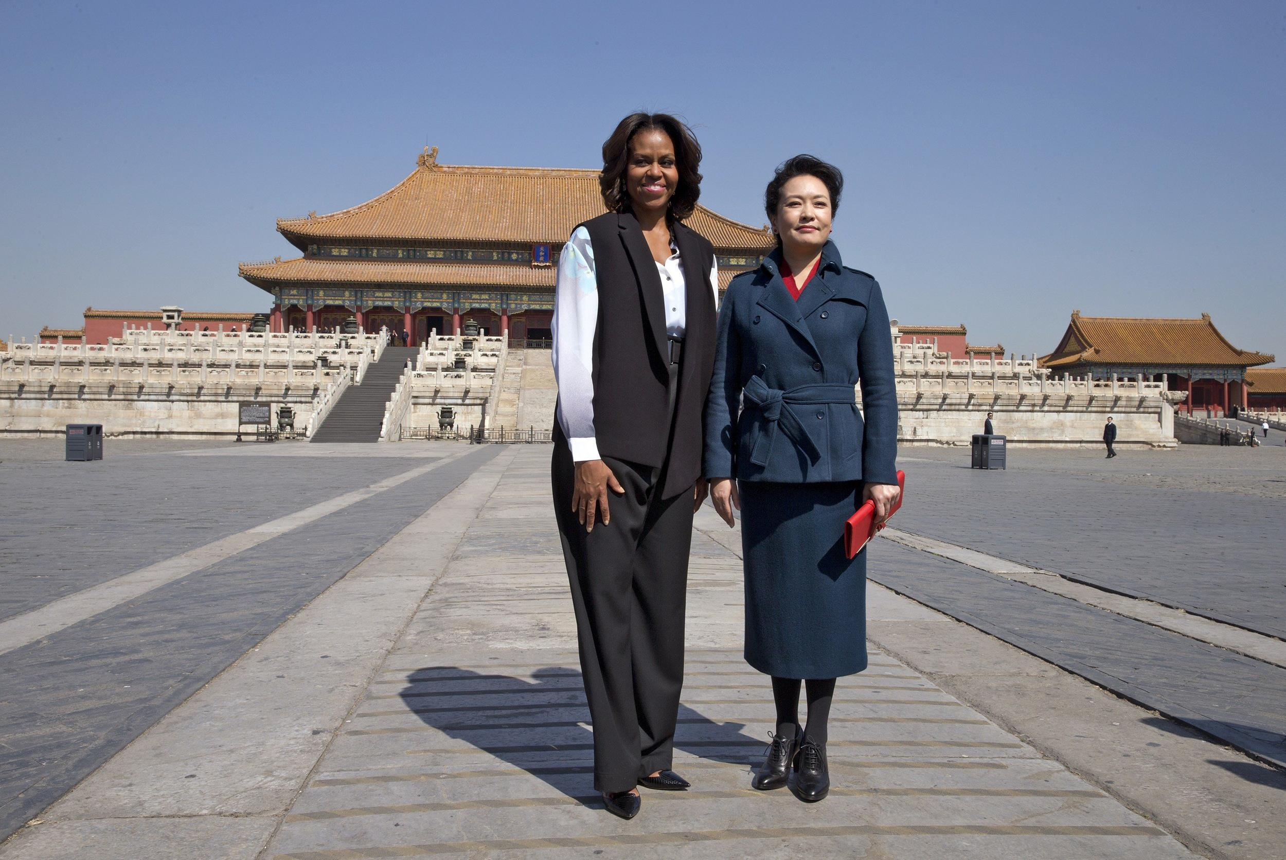 Image: First Lady Michelle Obama and Peng Liyuan, wife of Chinese President Xi Jinping