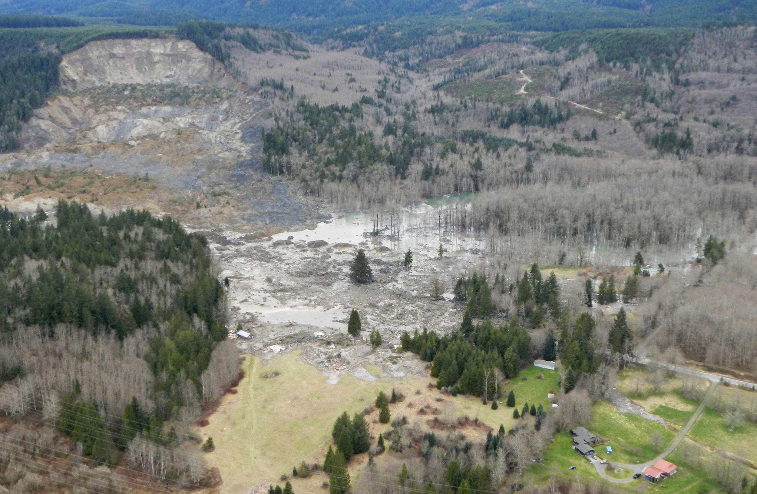 Image: A general view of the area affected by a landslide near Oso, Washington