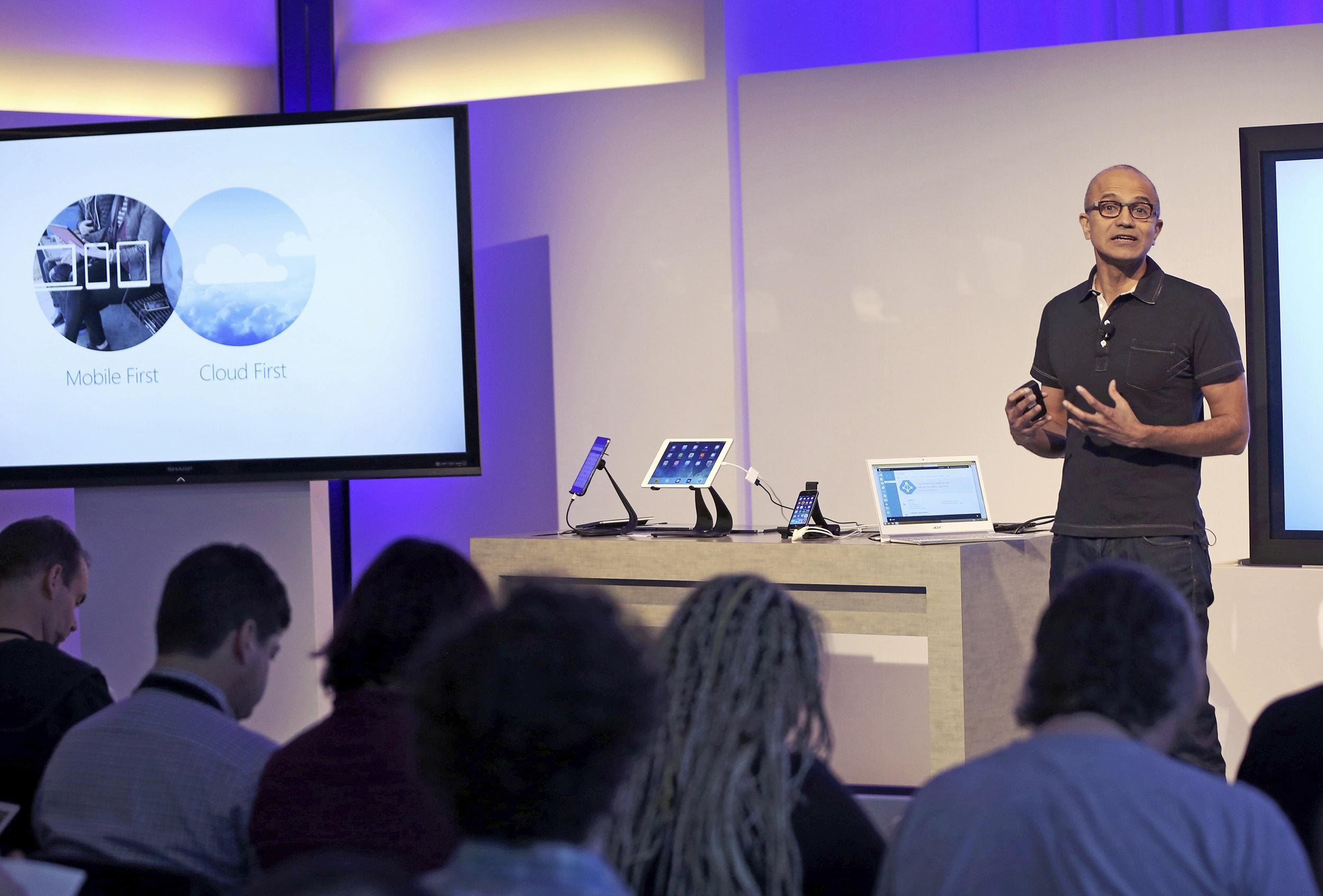 Image: Microsoft CEO Satya Nadella speaks at a Microsoft event in San Francisco