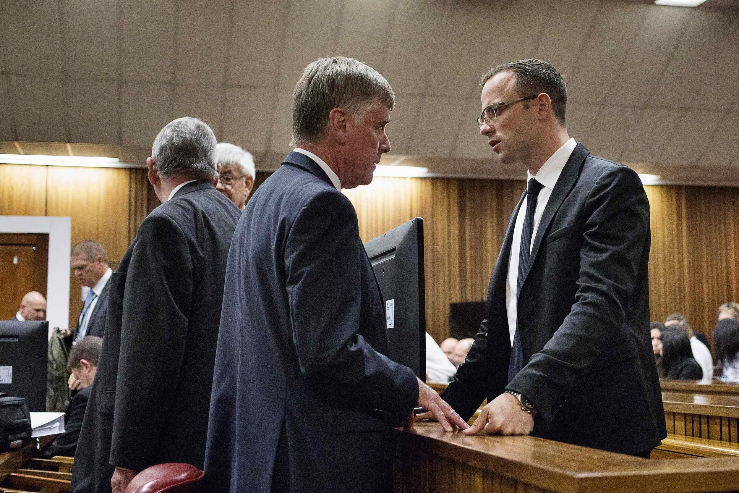 Image: Oscar Pistorius and defense lawyers on Friday