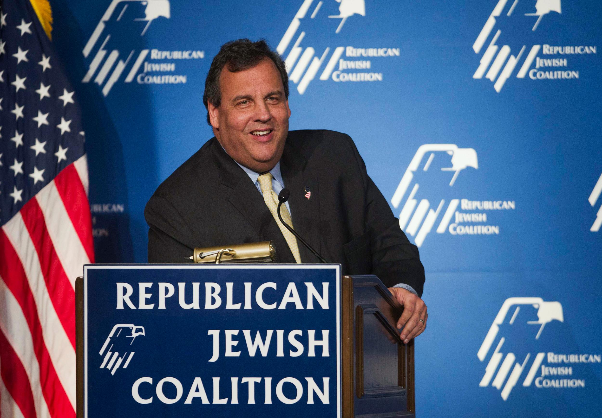 Image: New Jersey Governor Christie reacts to a question during the Republican Jewish Coalition Spring Leadership Meeting at the Venetian Resort in Las Vegas