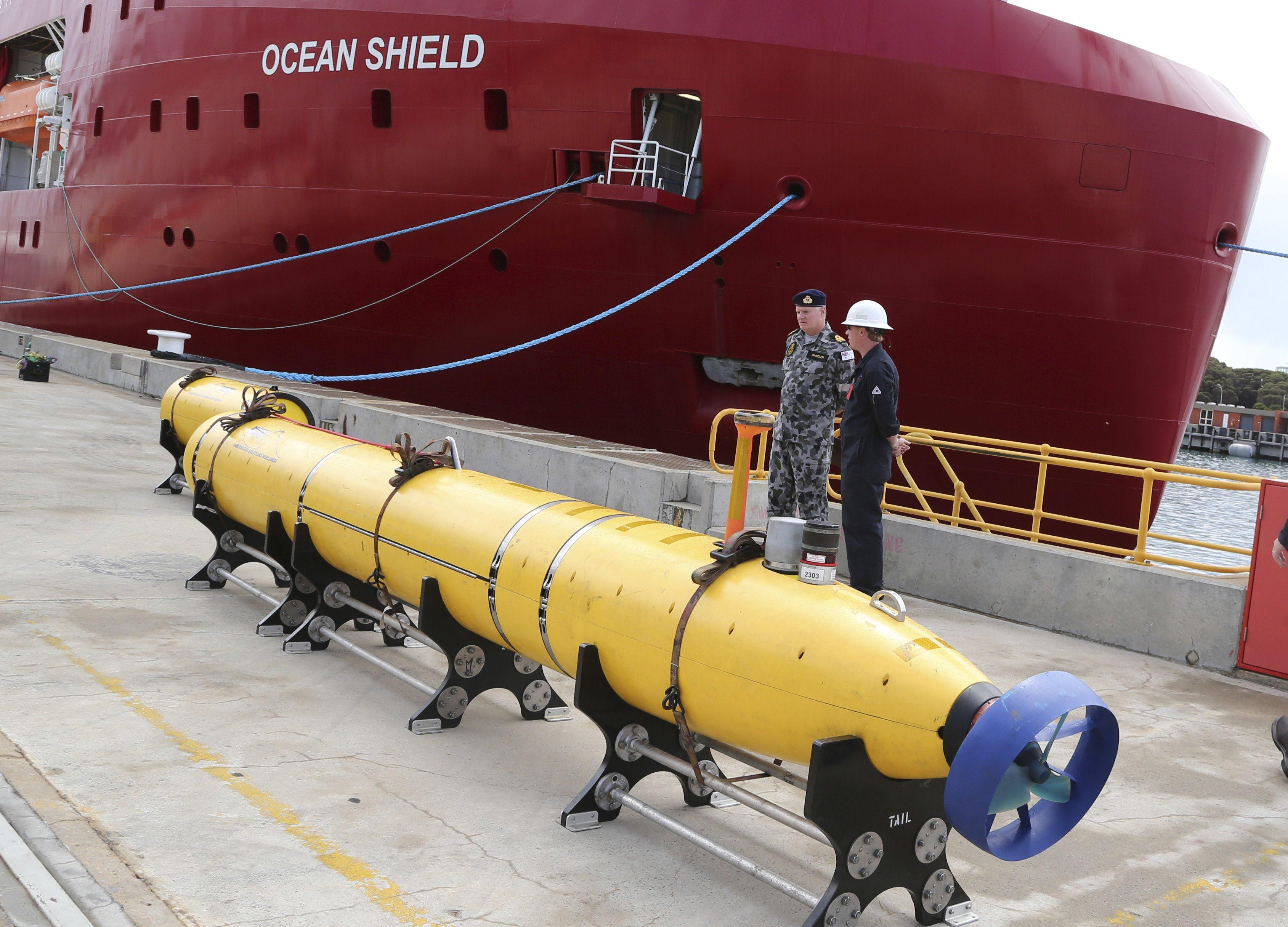 "Image: A ""pinger locator"" sits on the wharf ready to be fitted to the defense ship Ocean Shield to aid in her roll in the search for missing Malaysia Airlines Flight MH370"