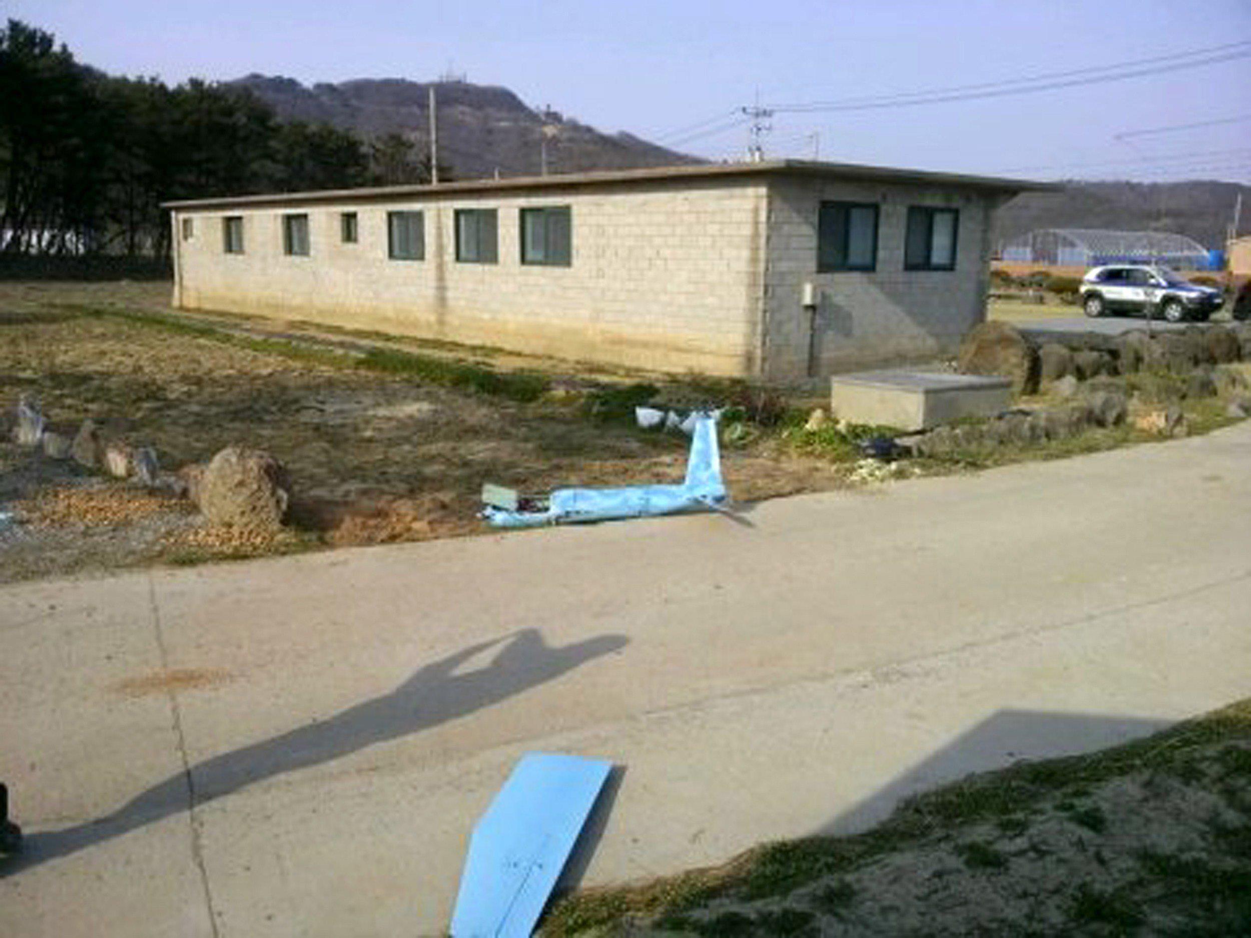 Image: Wreckage of a crashed drone on Baengnyeong island