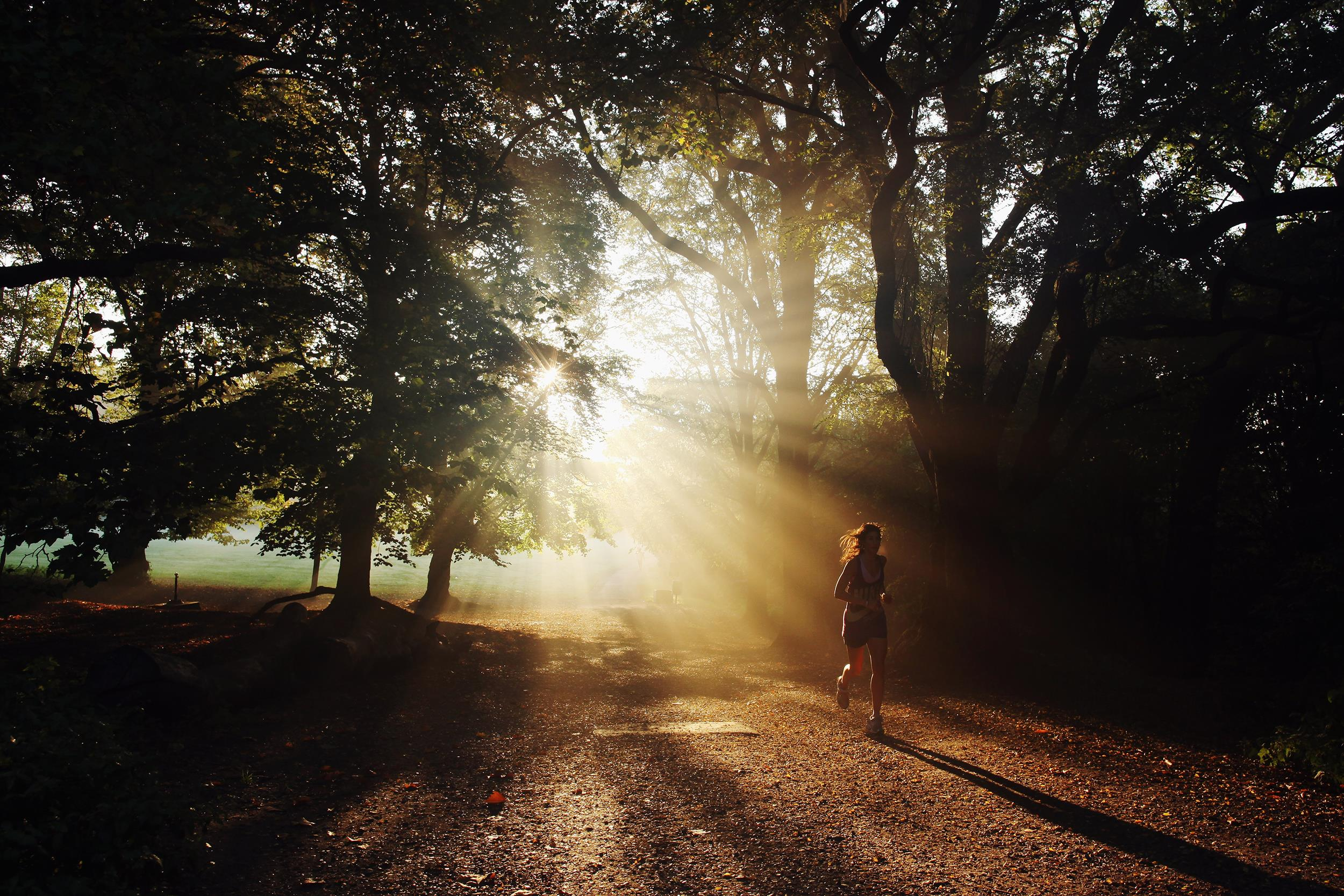 Image: A woman runs through the early morning light