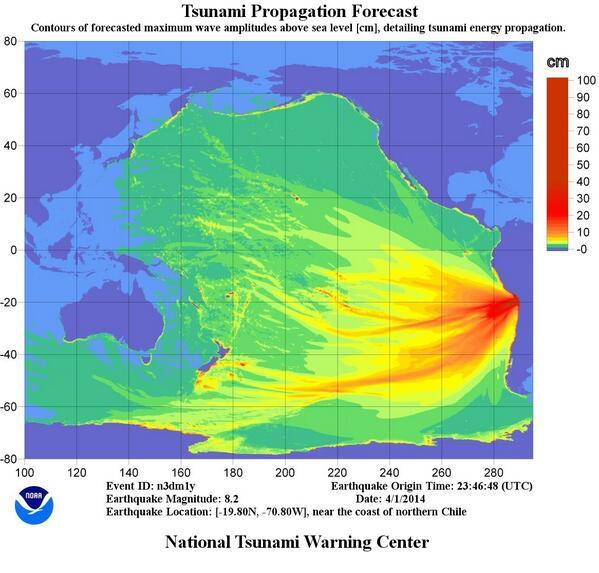 IMAGE: National Tsunami Warning Center propagation map