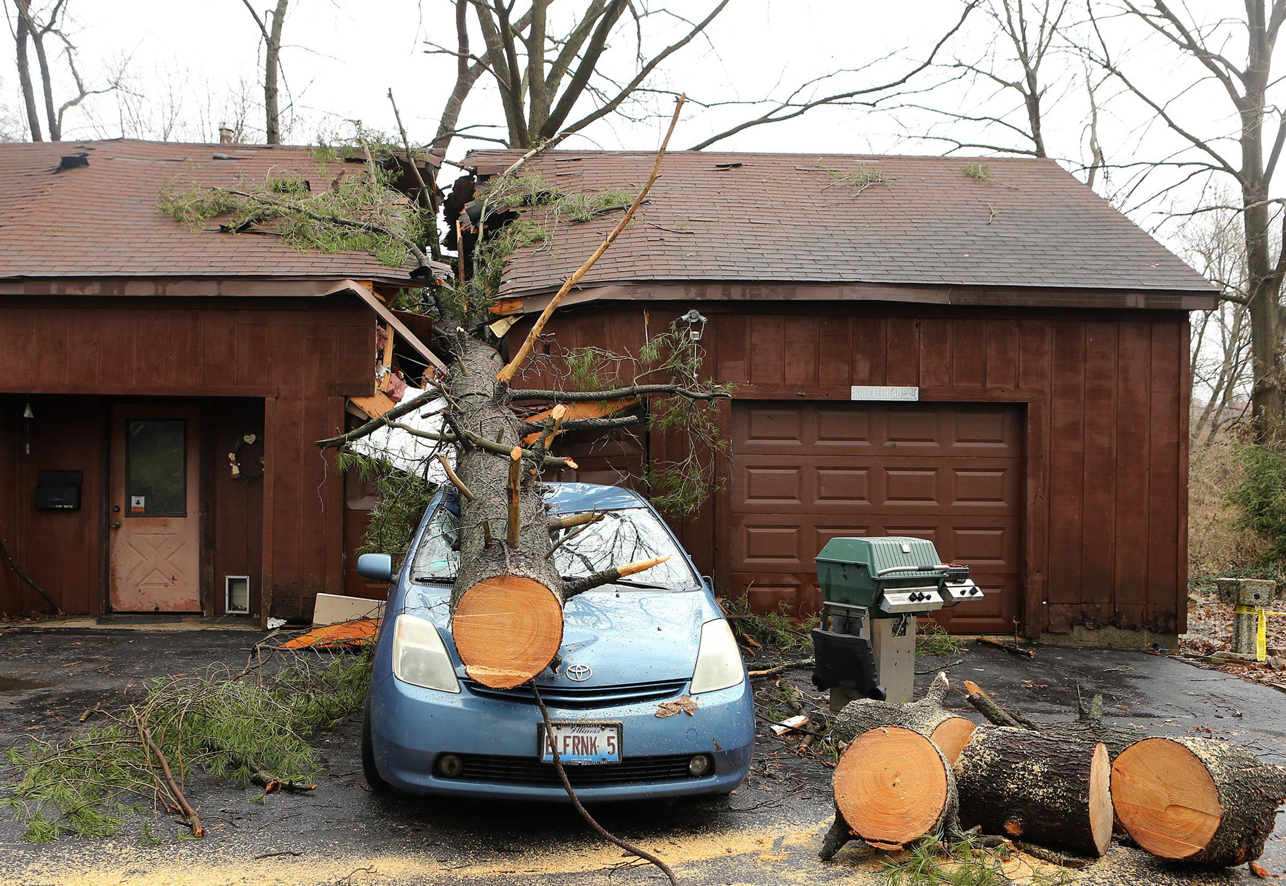 Image: A tree crushed this car and garage in Belleville, Ill.