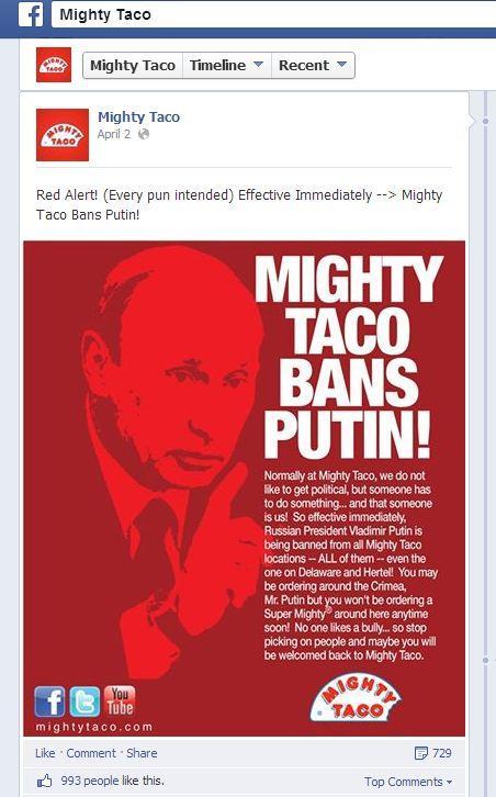 Mighty Taco bans Putin