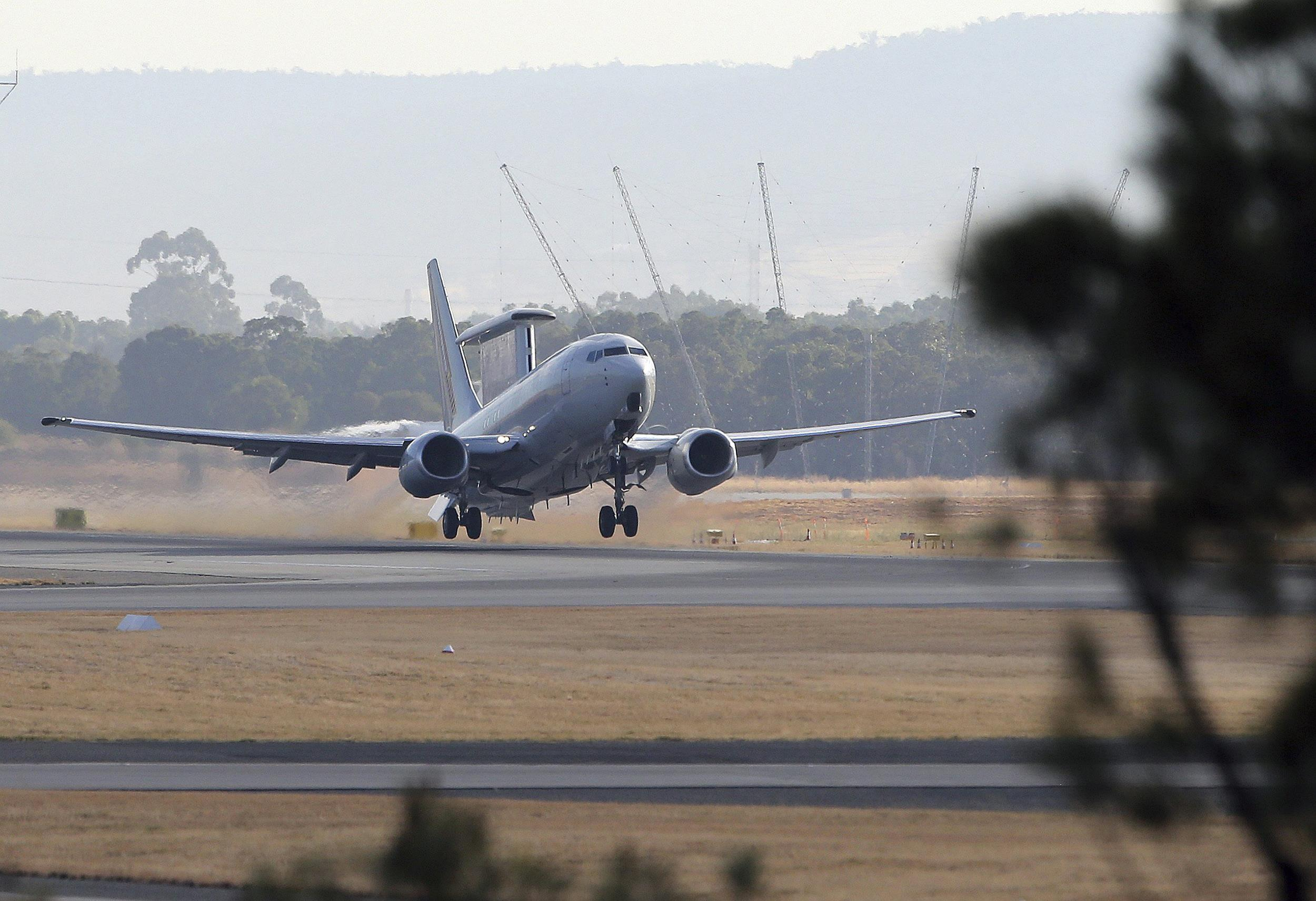 Image: A Royal Australian Air Force E-7A Wedgetail takes off from Perth Airport on April 5.