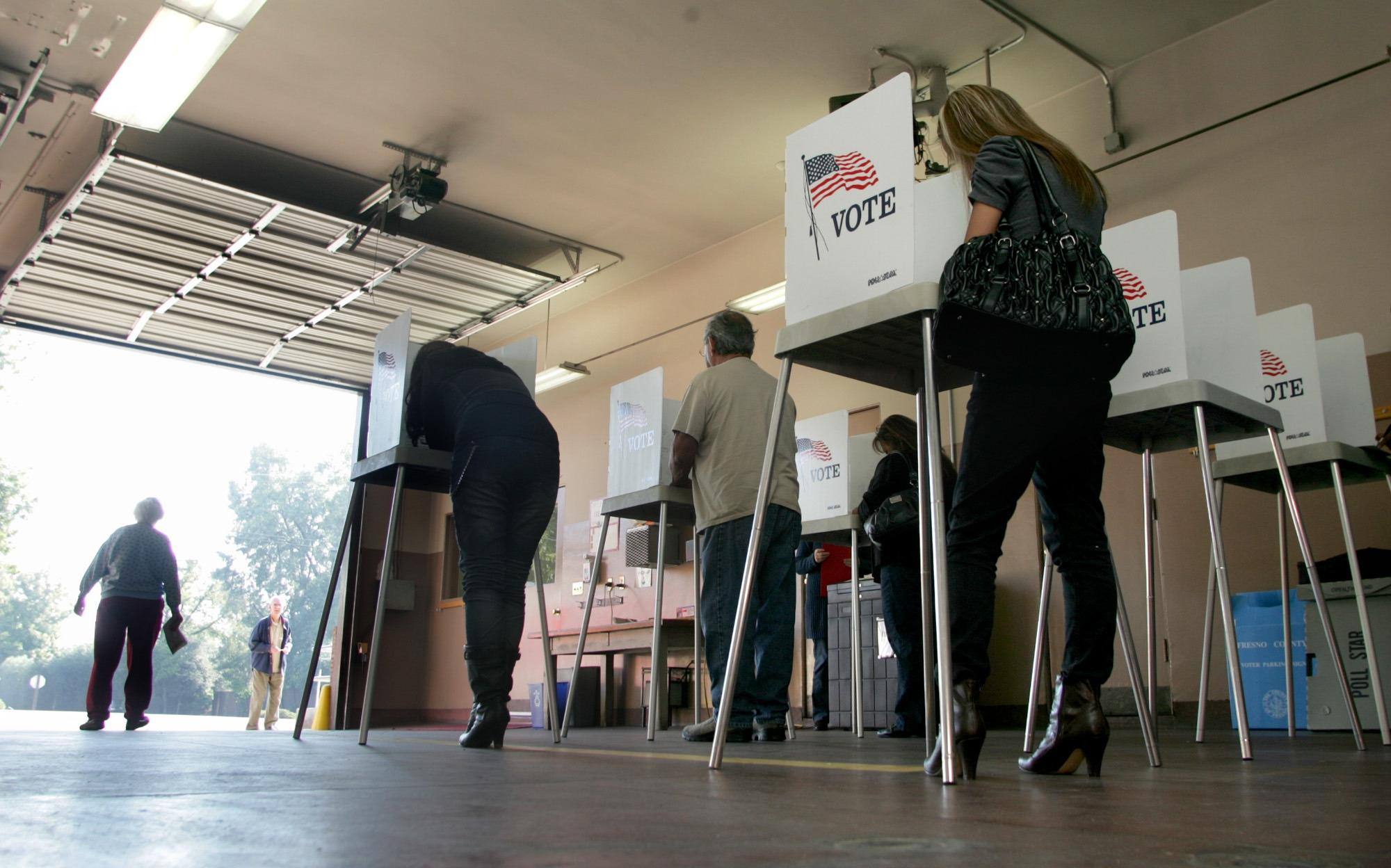 Image: voting in Fresno, Calif.
