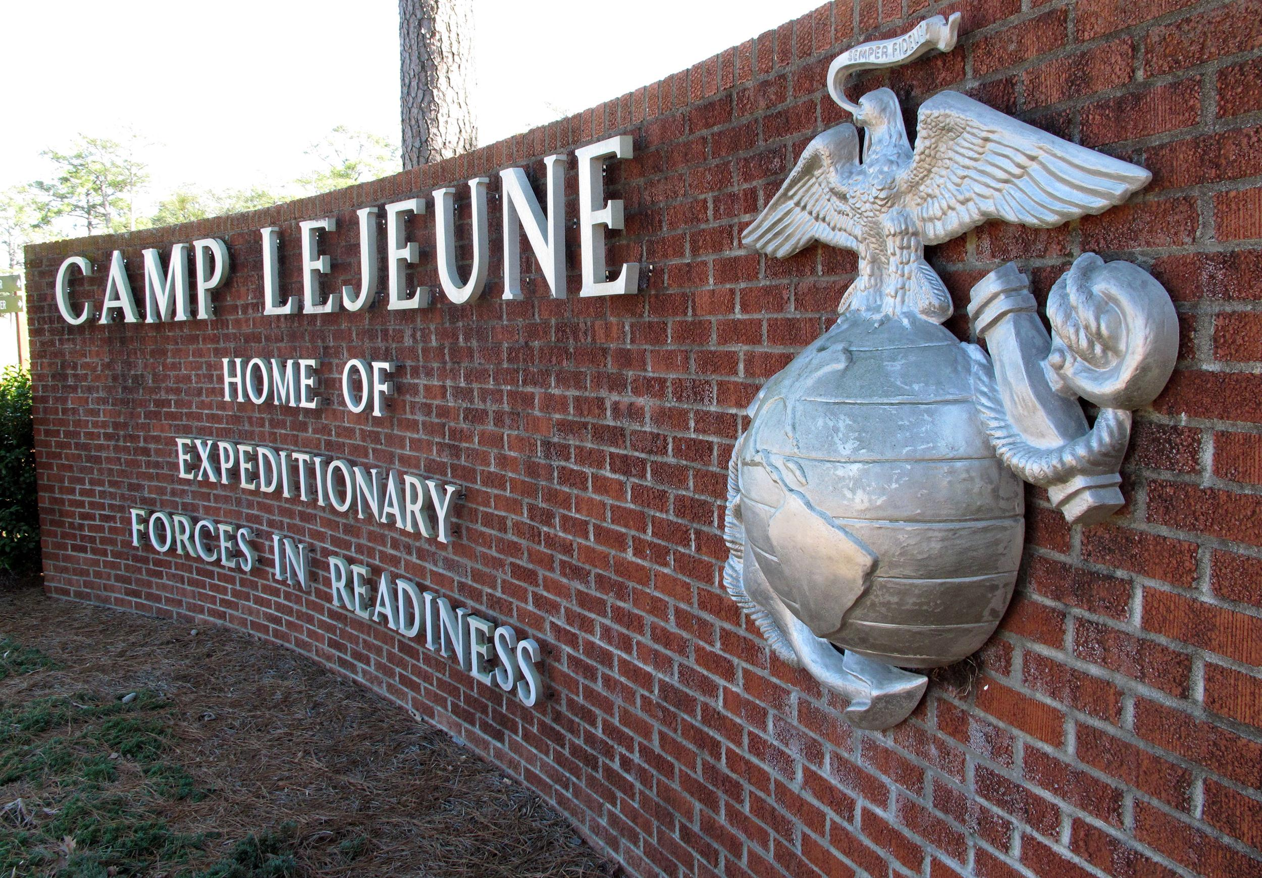 Image: A sign at the entrance to Camp Lejeune, N.C.
